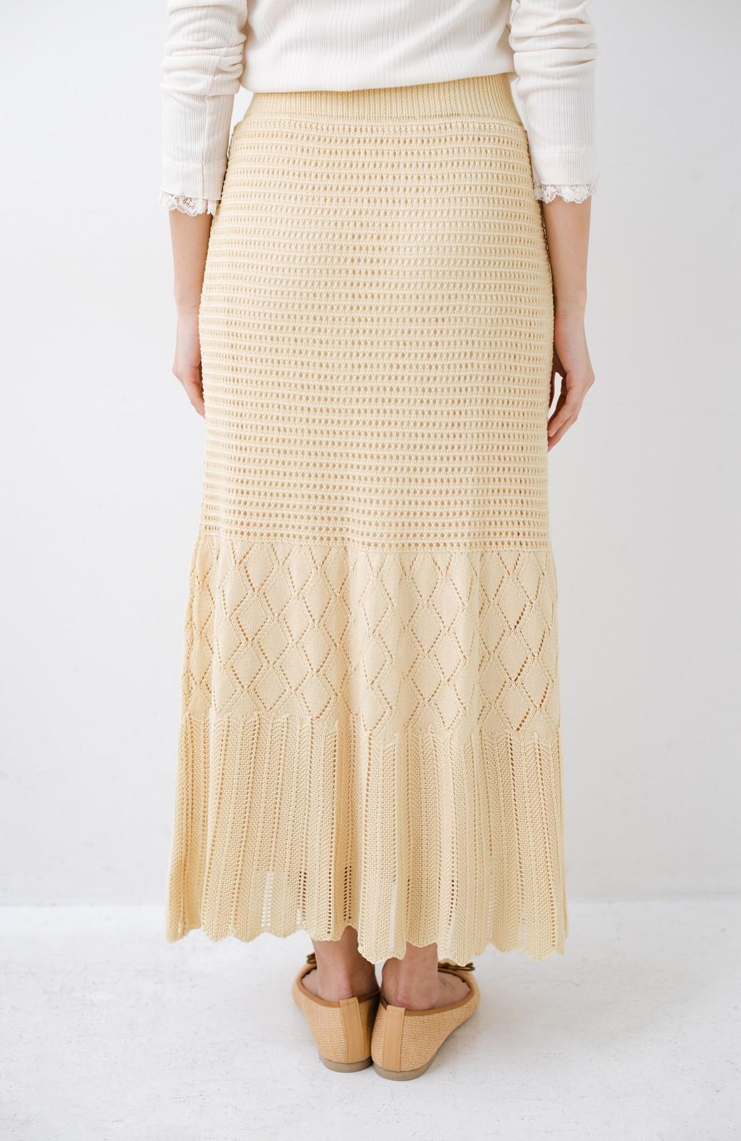 haco! 単品はもちろん重ね着してもかわいさが増す!透かし編みマーメイドスカート <アイボリー>の商品写真9