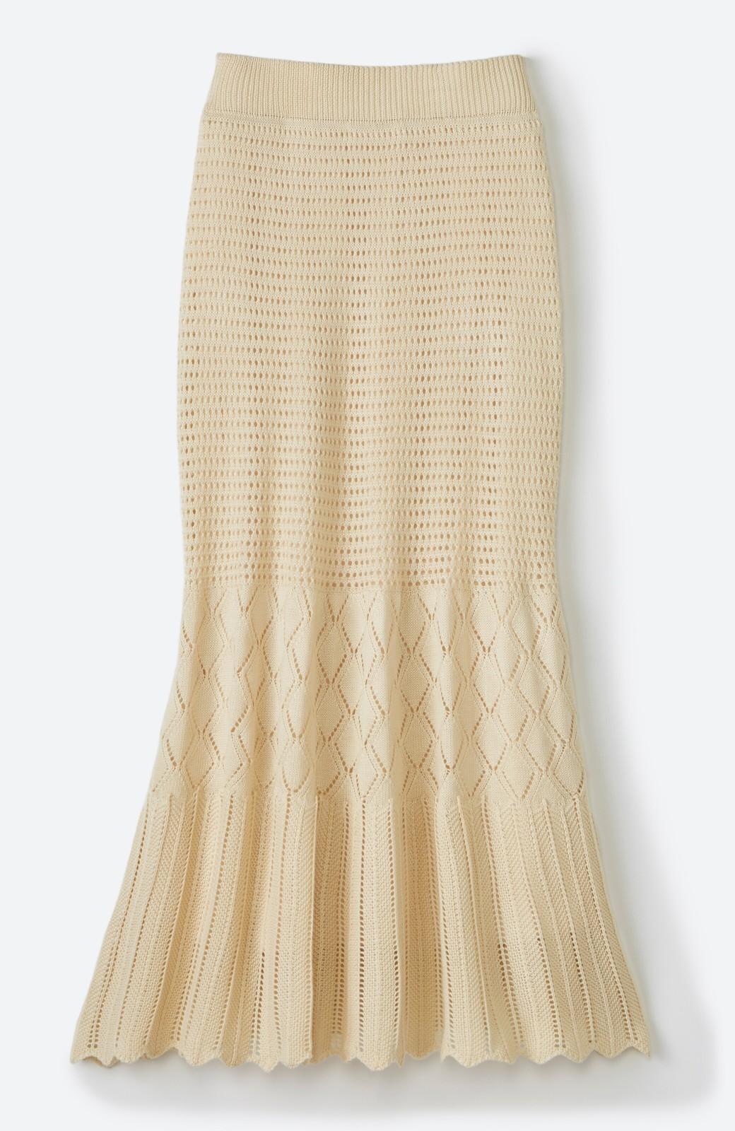 haco! 単品はもちろん重ね着してもかわいさが増す!透かし編みマーメイドスカート <アイボリー>の商品写真24