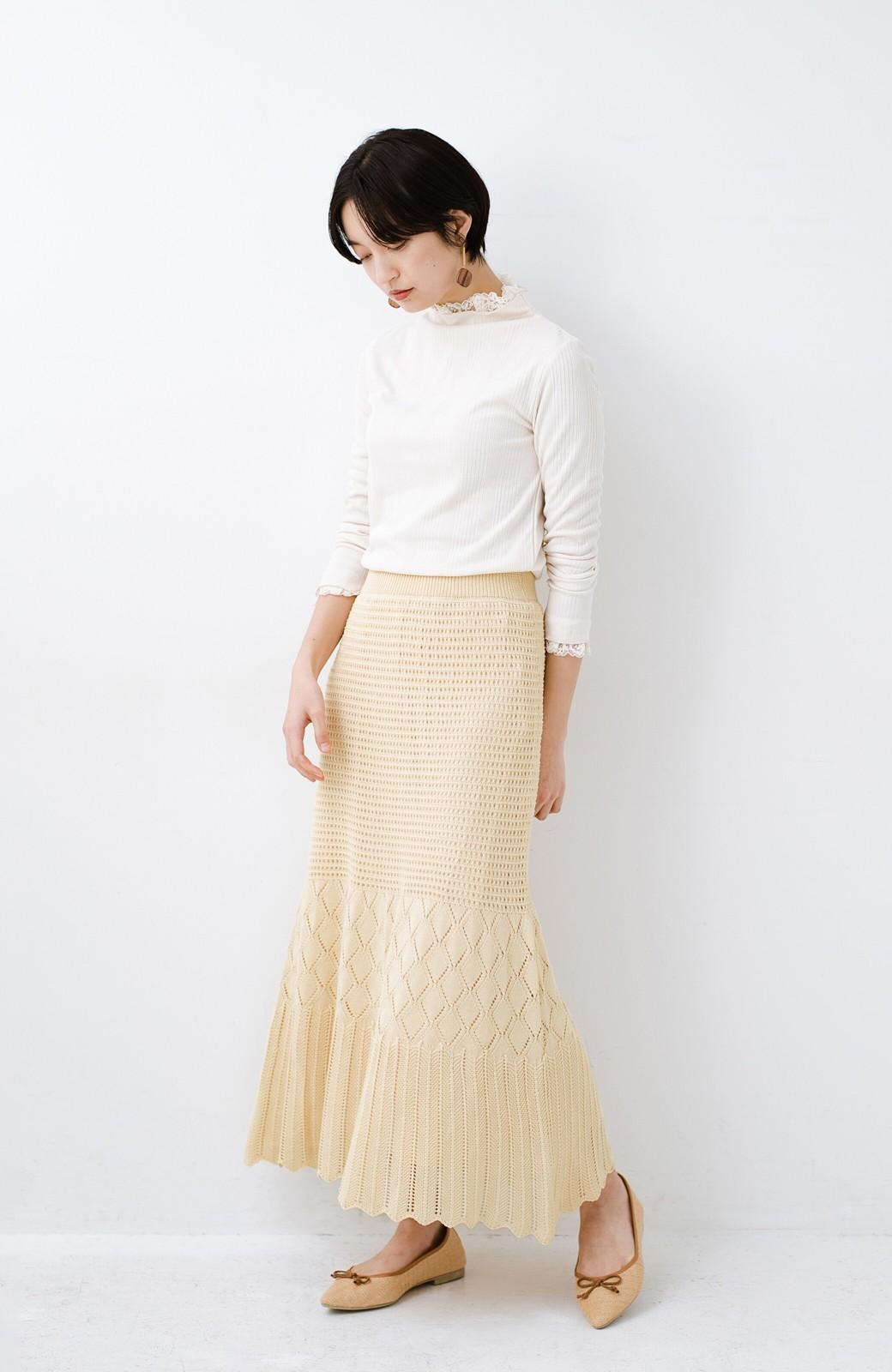 haco! 単品はもちろん重ね着してもかわいさが増す!透かし編みマーメイドスカート <アイボリー>の商品写真13