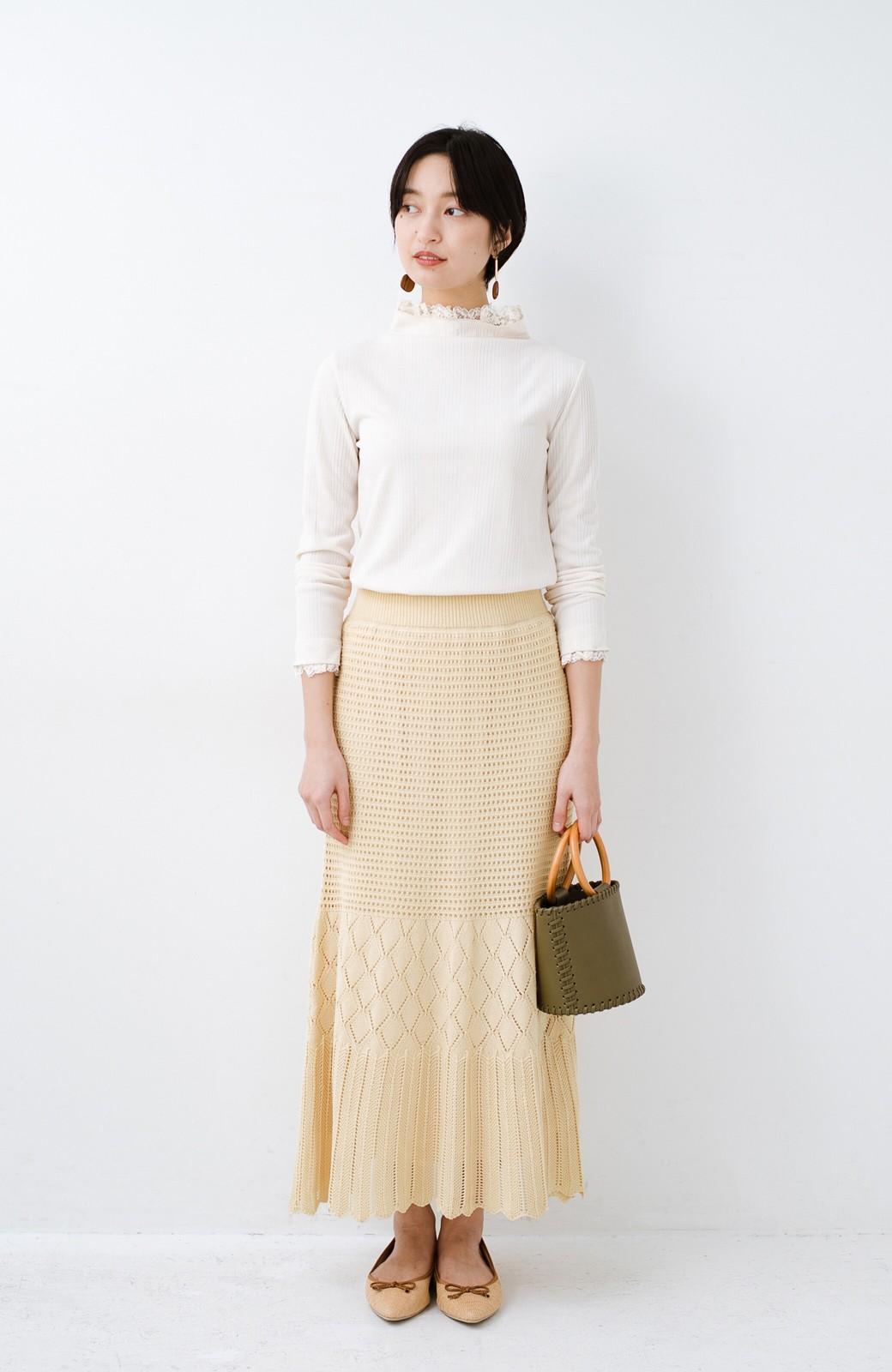 haco! 単品はもちろん重ね着してもかわいさが増す!透かし編みマーメイドスカート <アイボリー>の商品写真14