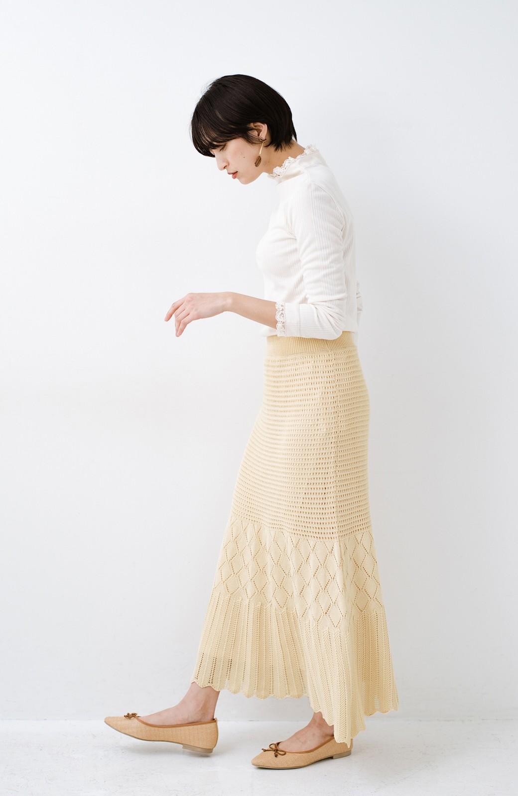 haco! 単品はもちろん重ね着してもかわいさが増す!透かし編みマーメイドスカート <アイボリー>の商品写真15