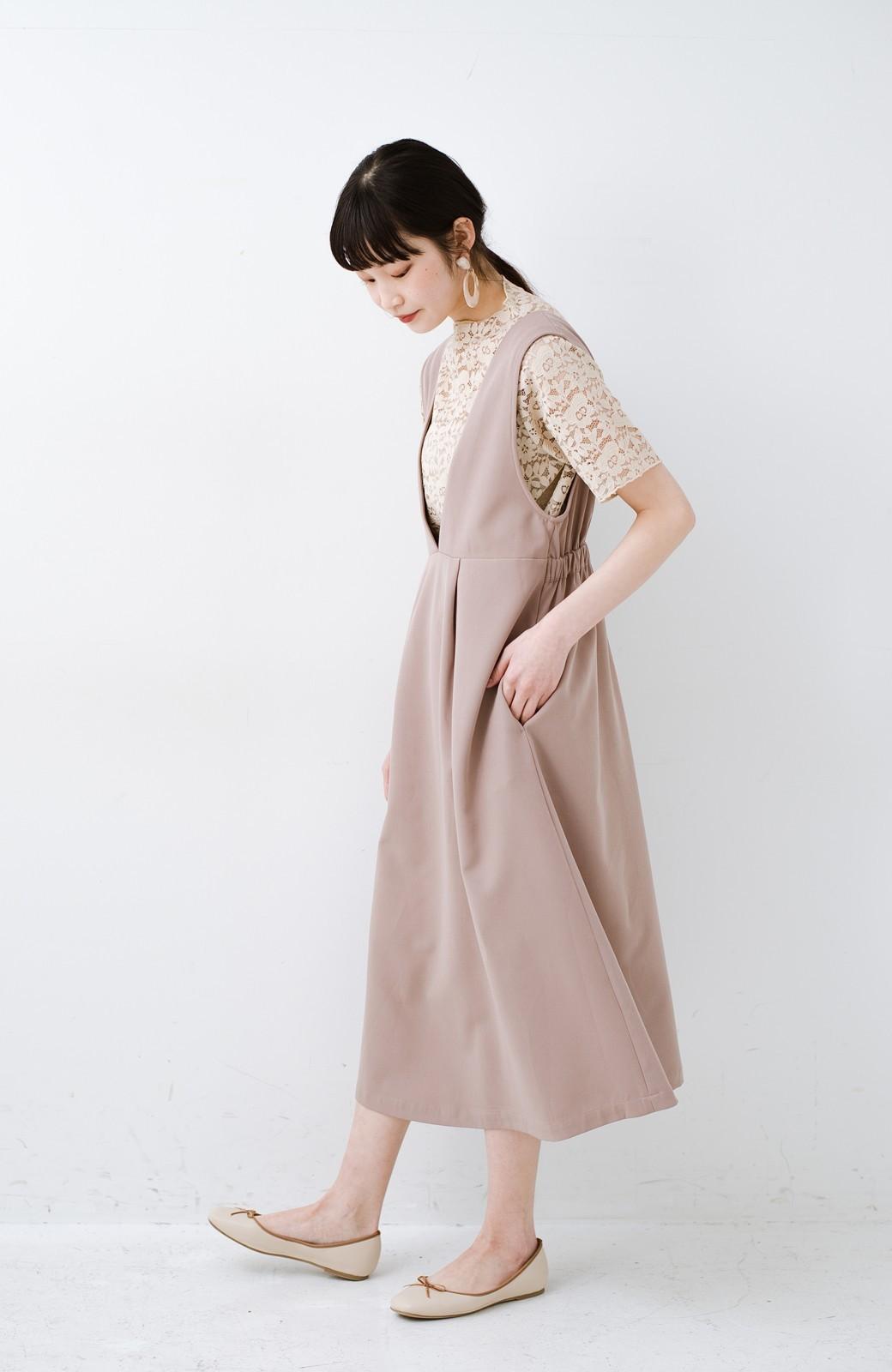 haco! ニットにもTシャツにも似合う ずっと着られてパッと華やぐジャンパースカート <ピンクベージュ>の商品写真11