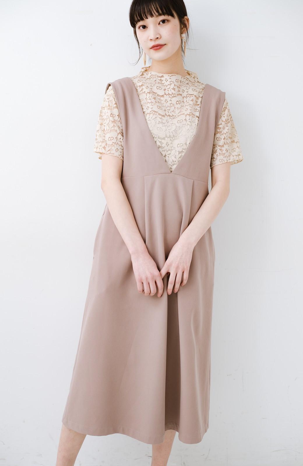 haco! ニットにもTシャツにも似合う ずっと着られてパッと華やぐジャンパースカート <ピンクベージュ>の商品写真3