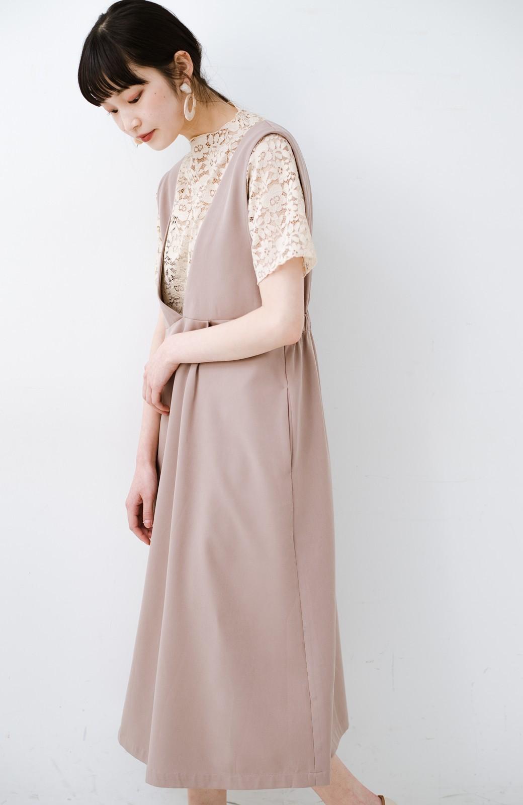 haco! ニットにもTシャツにも似合う ずっと着られてパッと華やぐジャンパースカート <ピンクベージュ>の商品写真21