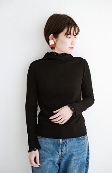 haco! 1枚でも重ねても便利!テレコ素材できれいに着られる衿レース付きカットソートップスby style zampa<ブラック>の商品写真