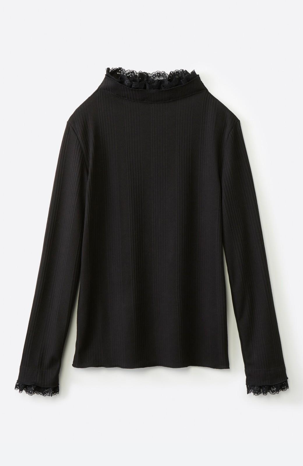 haco! 1枚でも重ねても便利!テレコ素材できれいに着られる衿レース付きカットソートップスby style zampa <ブラック>の商品写真2