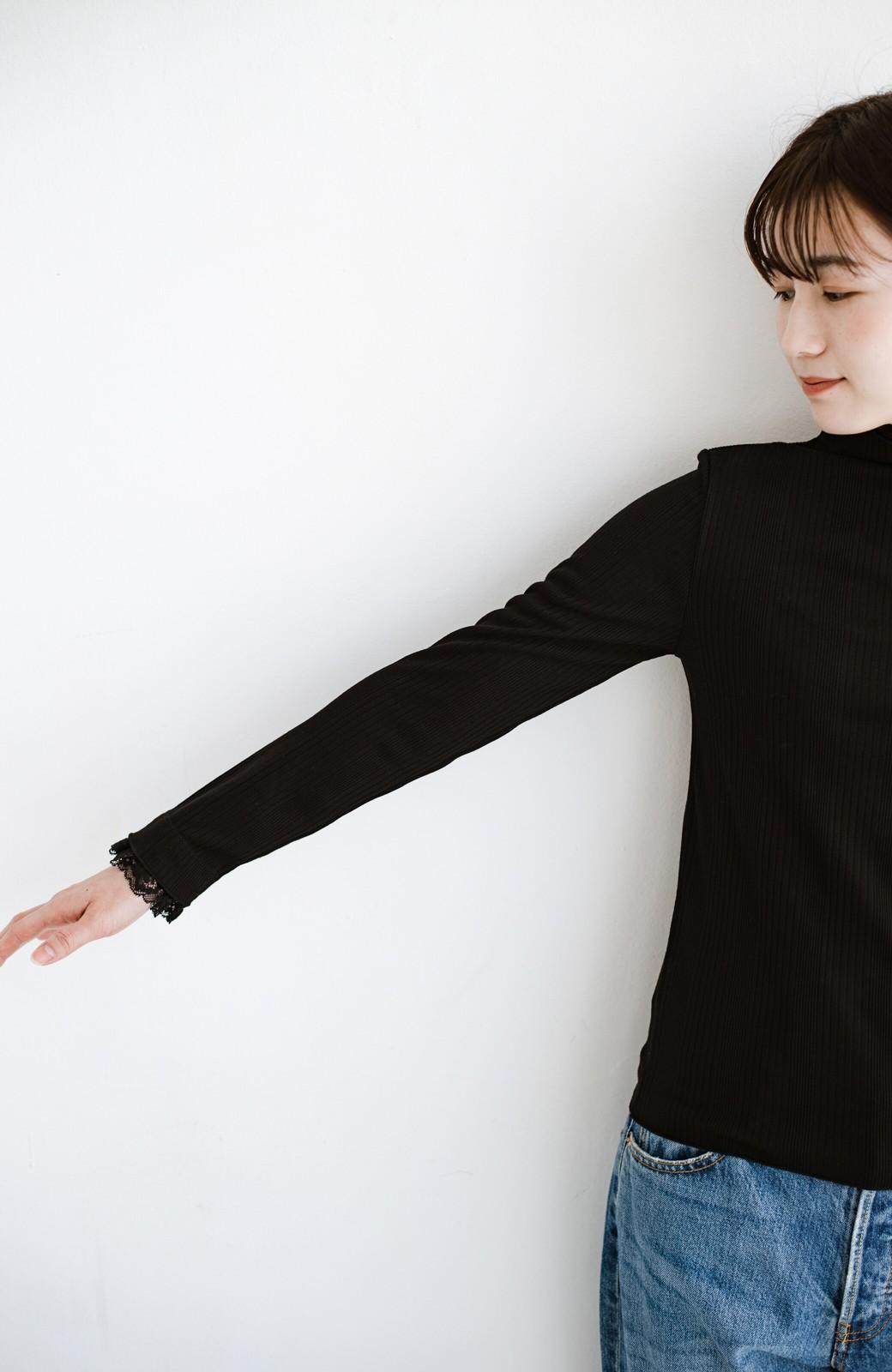 haco! 1枚でも重ねても便利!テレコ素材できれいに着られる衿レース付きカットソートップスby style zampa <ブラック>の商品写真11