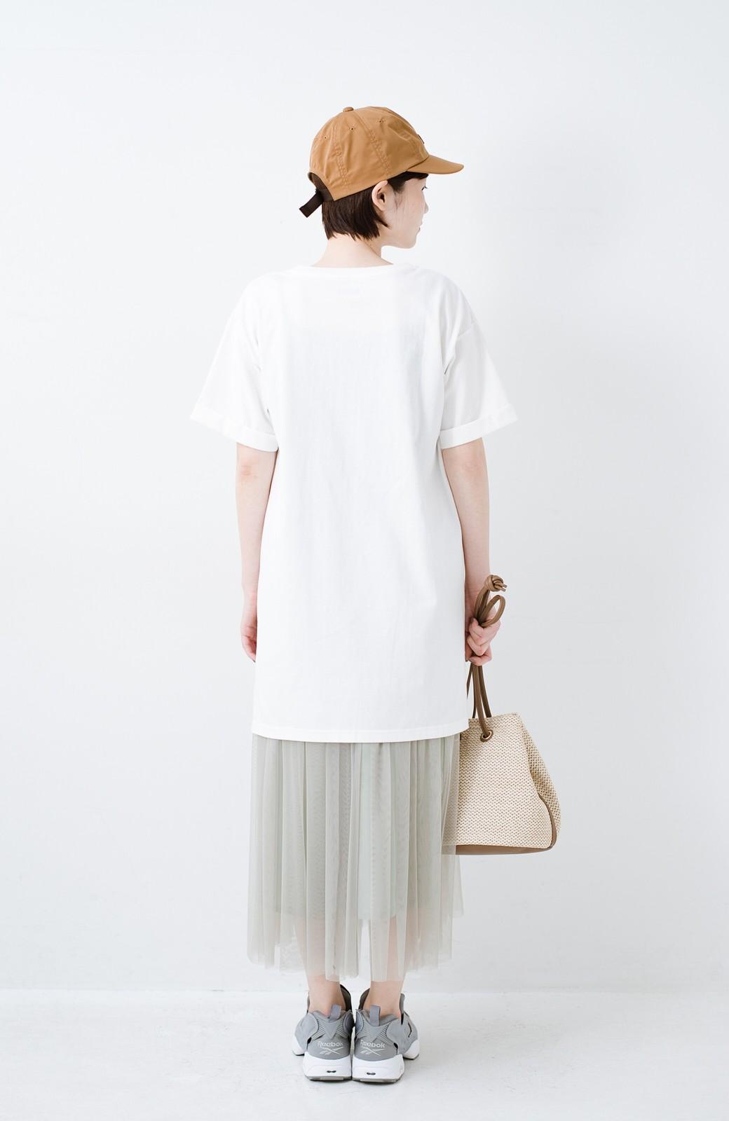 haco! 別注Lee ベルトでウエストマークしてもかわいいチュニックTシャツ <ホワイト>の商品写真12