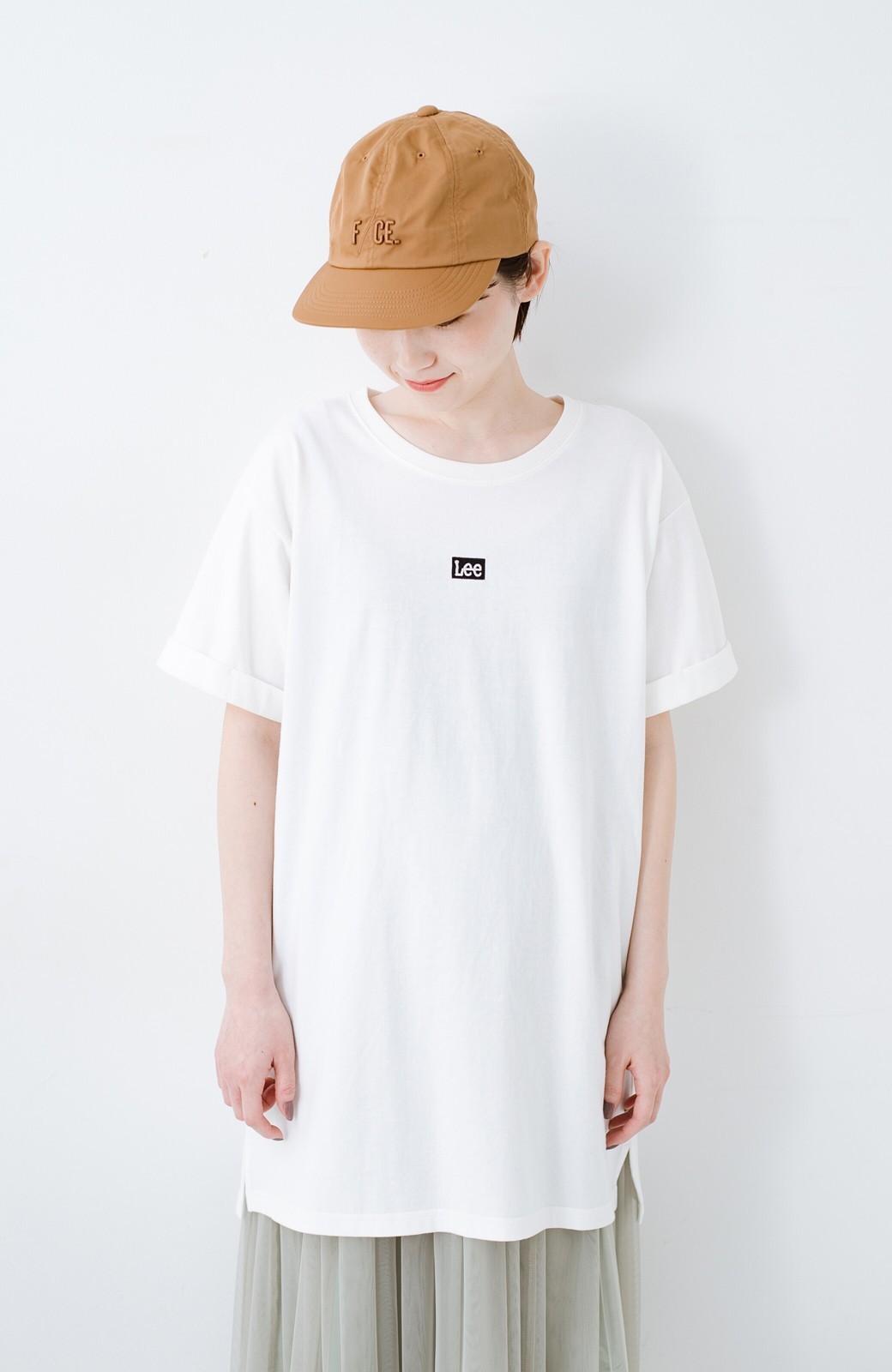 haco! 別注Lee ベルトでウエストマークしてもかわいいチュニックTシャツ <ホワイト>の商品写真13