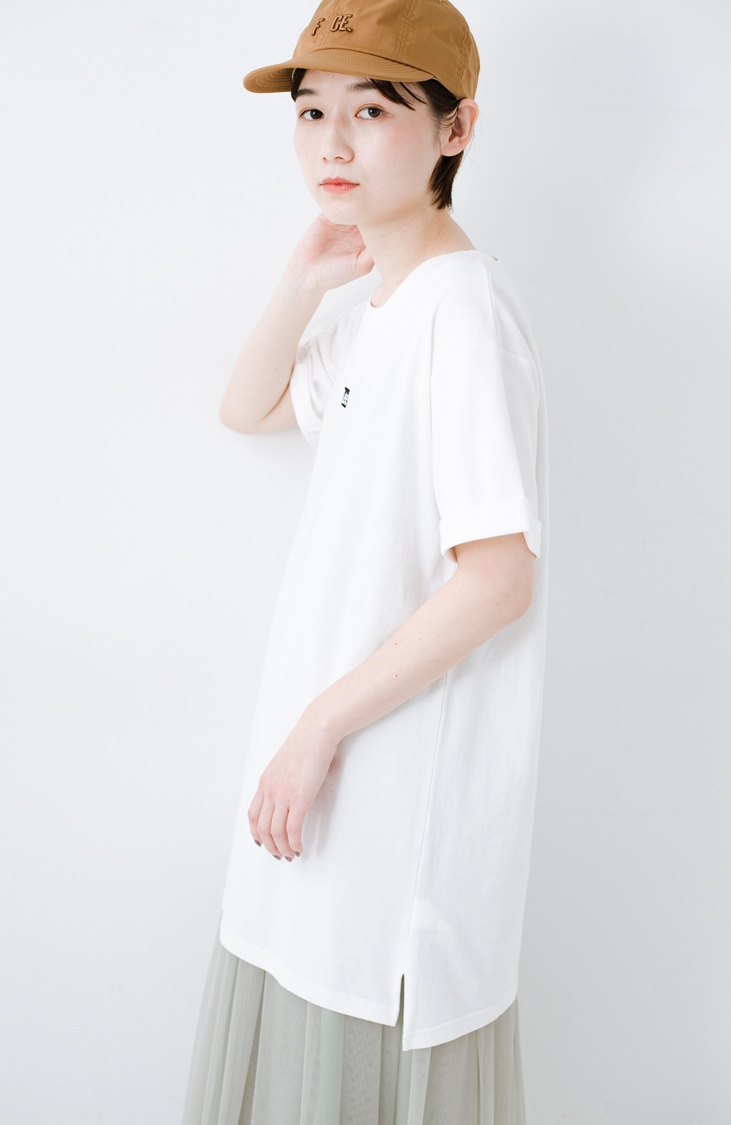 haco! 別注Lee ベルトでウエストマークしてもかわいいチュニックTシャツ <ホワイト>の商品写真14