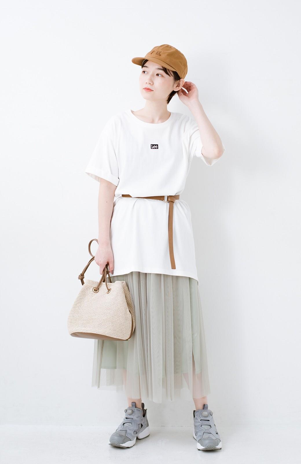 haco! 別注Lee ベルトでウエストマークしてもかわいいチュニックTシャツ <ホワイト>の商品写真8