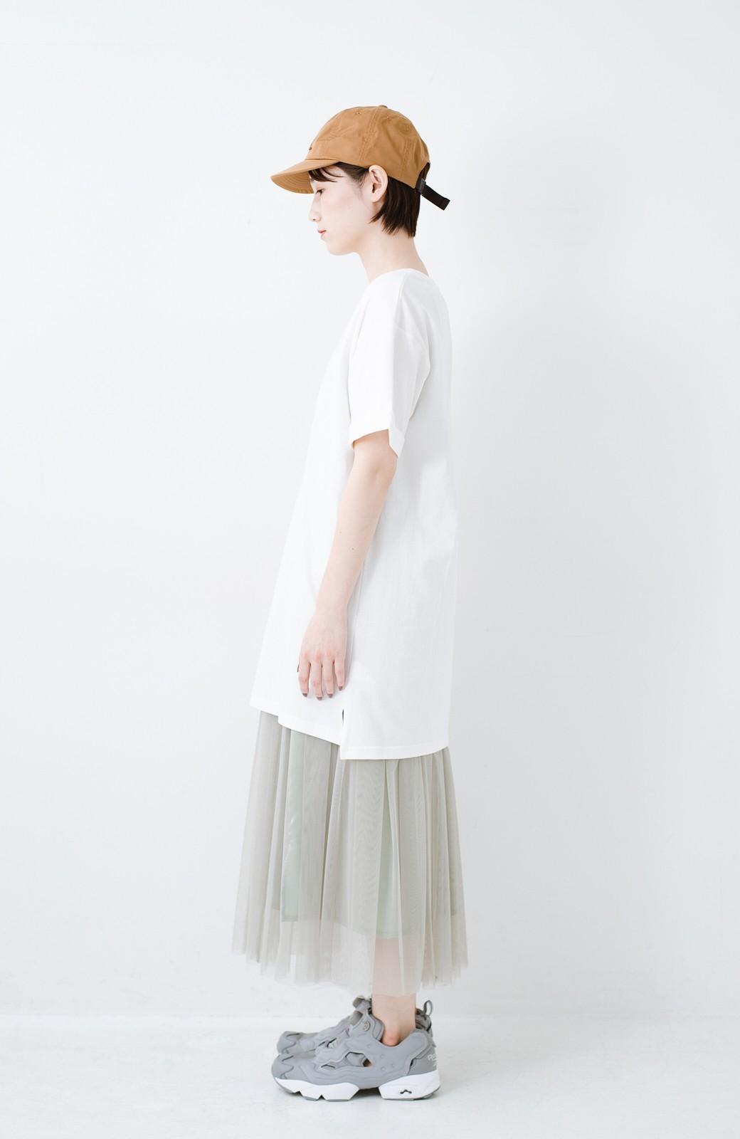haco! 別注Lee ベルトでウエストマークしてもかわいいチュニックTシャツ <ホワイト>の商品写真9
