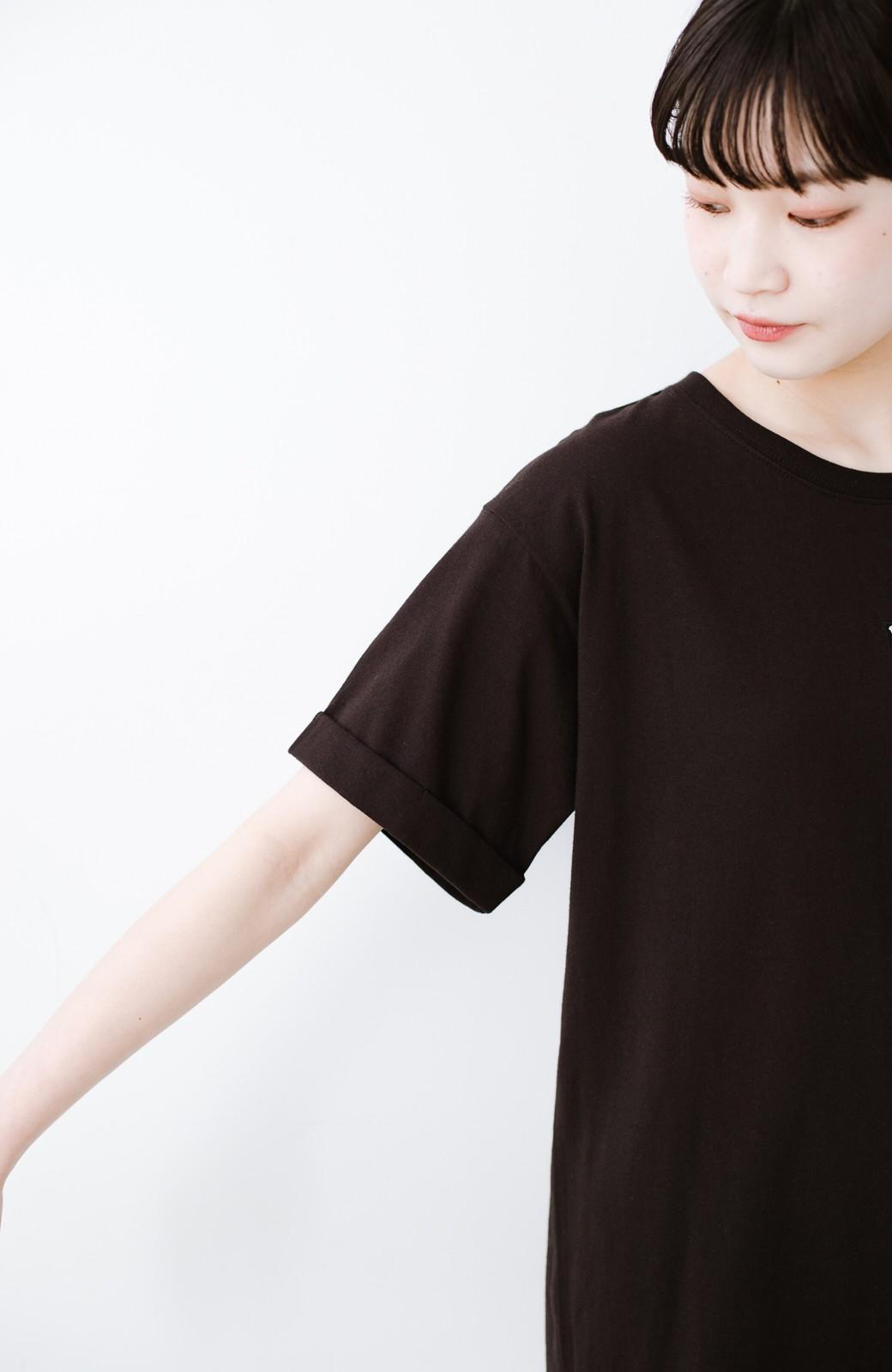 haco! 別注Lee ベルトでウエストマークしてもかわいいチュニックTシャツ <ブラック>の商品写真4