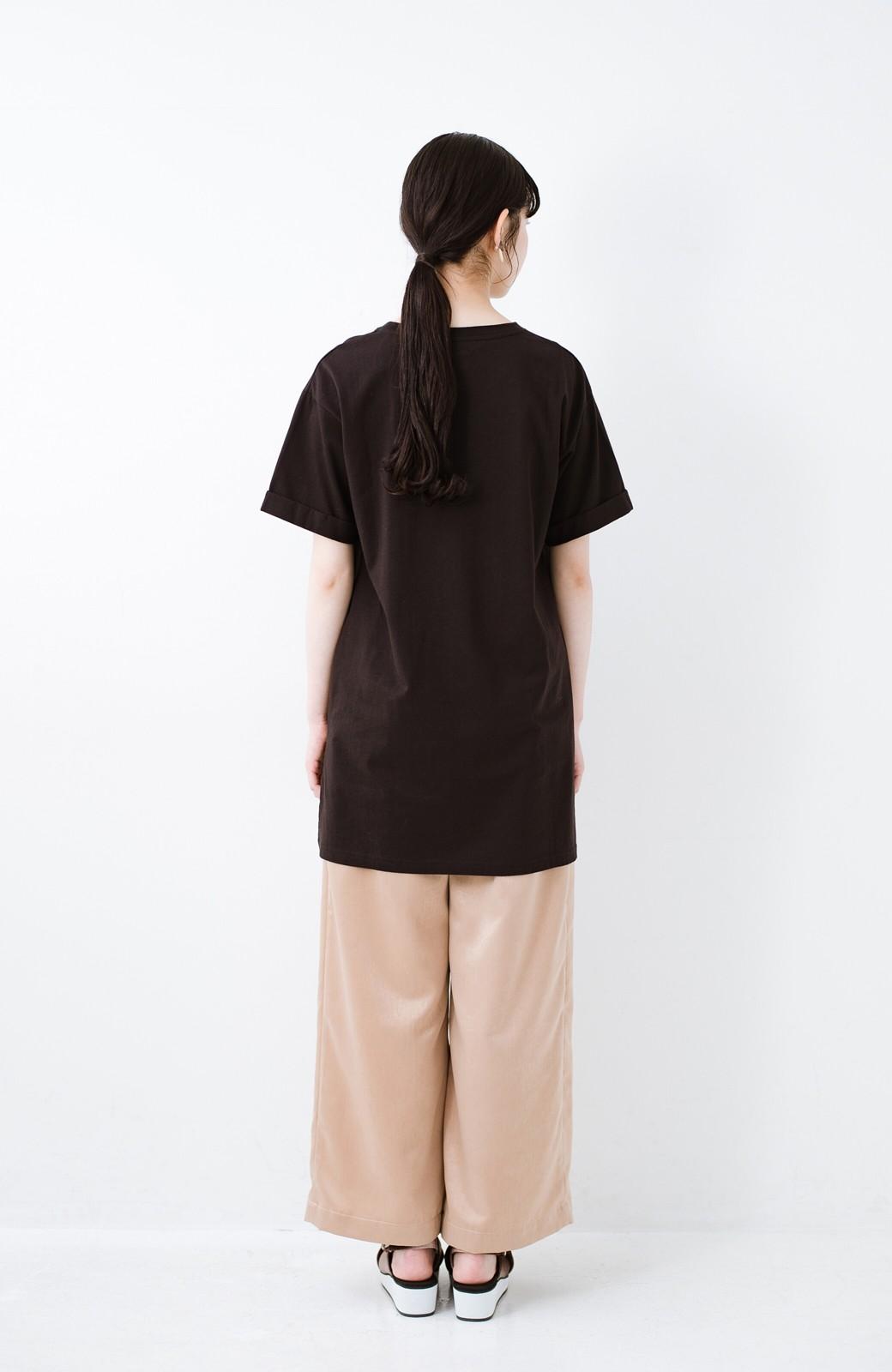 haco! 別注Lee ベルトでウエストマークしてもかわいいチュニックTシャツ <ブラック>の商品写真8