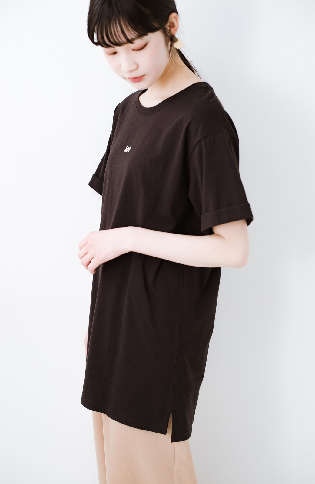 haco! 別注Lee ベルトでウエストマークしてもかわいいチュニックTシャツ <ブラック>の商品写真2