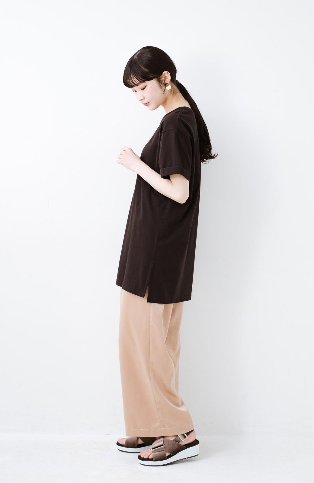 haco! 別注Lee ベルトでウエストマークしてもかわいいチュニックTシャツ <ブラック>の商品写真7