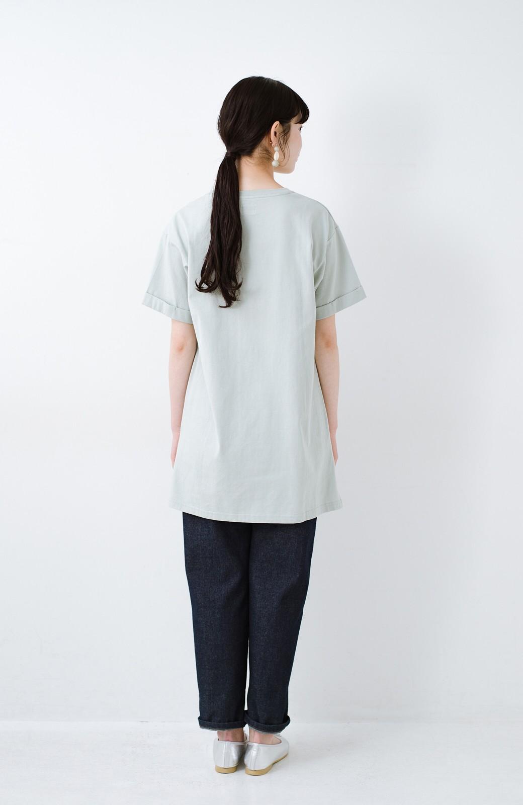 haco! 別注Lee ベルトでウエストマークしてもかわいいチュニックTシャツ <ミント>の商品写真9