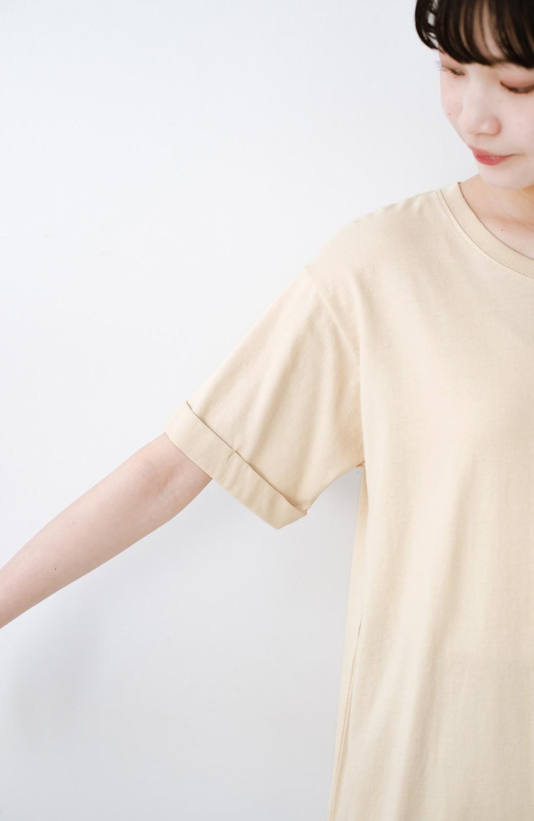 haco! 別注Lee ベルトでウエストマークしてもかわいいチュニックTシャツ <ベージュ>の商品写真4