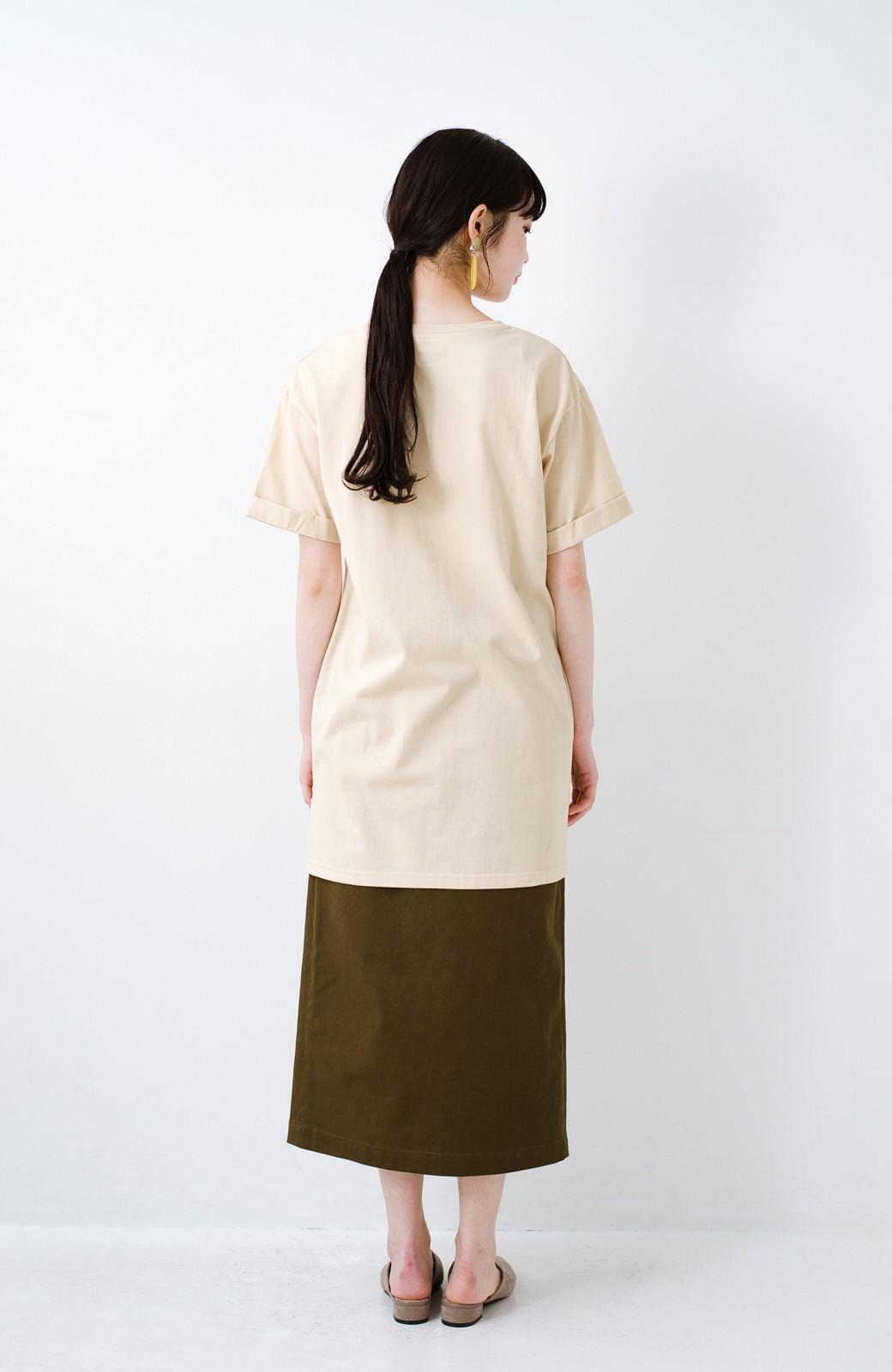 haco! 別注Lee ベルトでウエストマークしてもかわいいチュニックTシャツ <ベージュ>の商品写真10