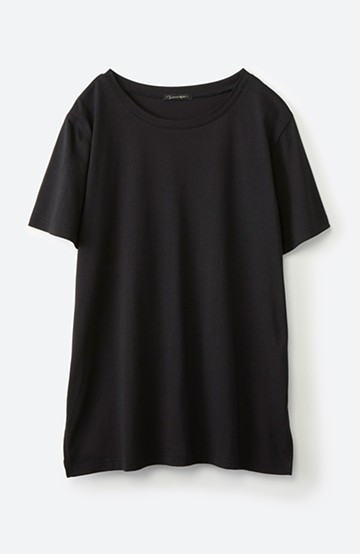 haco! 汗染み軽減加工で安心!1枚でも重ね着にも便利なシンプルTシャツ by ZAMPA <ブラック>の商品写真