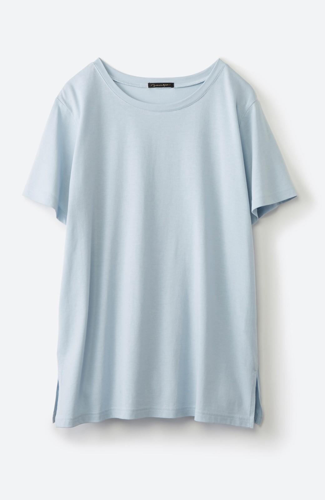 haco! 汗染み軽減加工で安心!1枚でも重ね着にも便利なシンプルTシャツ by ZAMPA <サックスブルー>の商品写真2