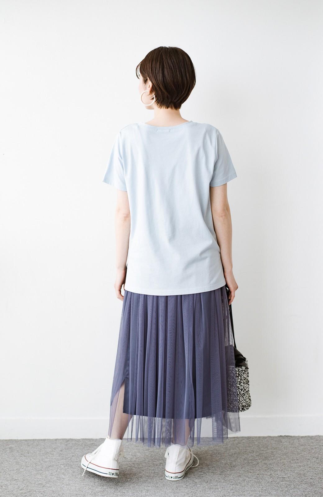 haco! 汗染み軽減加工で安心!1枚でも重ね着にも便利なシンプルTシャツ by ZAMPA <サックスブルー>の商品写真7