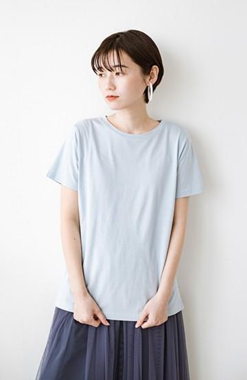 haco! 汗染み軽減加工で安心!1枚でも重ね着にも便利なシンプルTシャツ by ZAMPA <サックスブルー>の商品写真