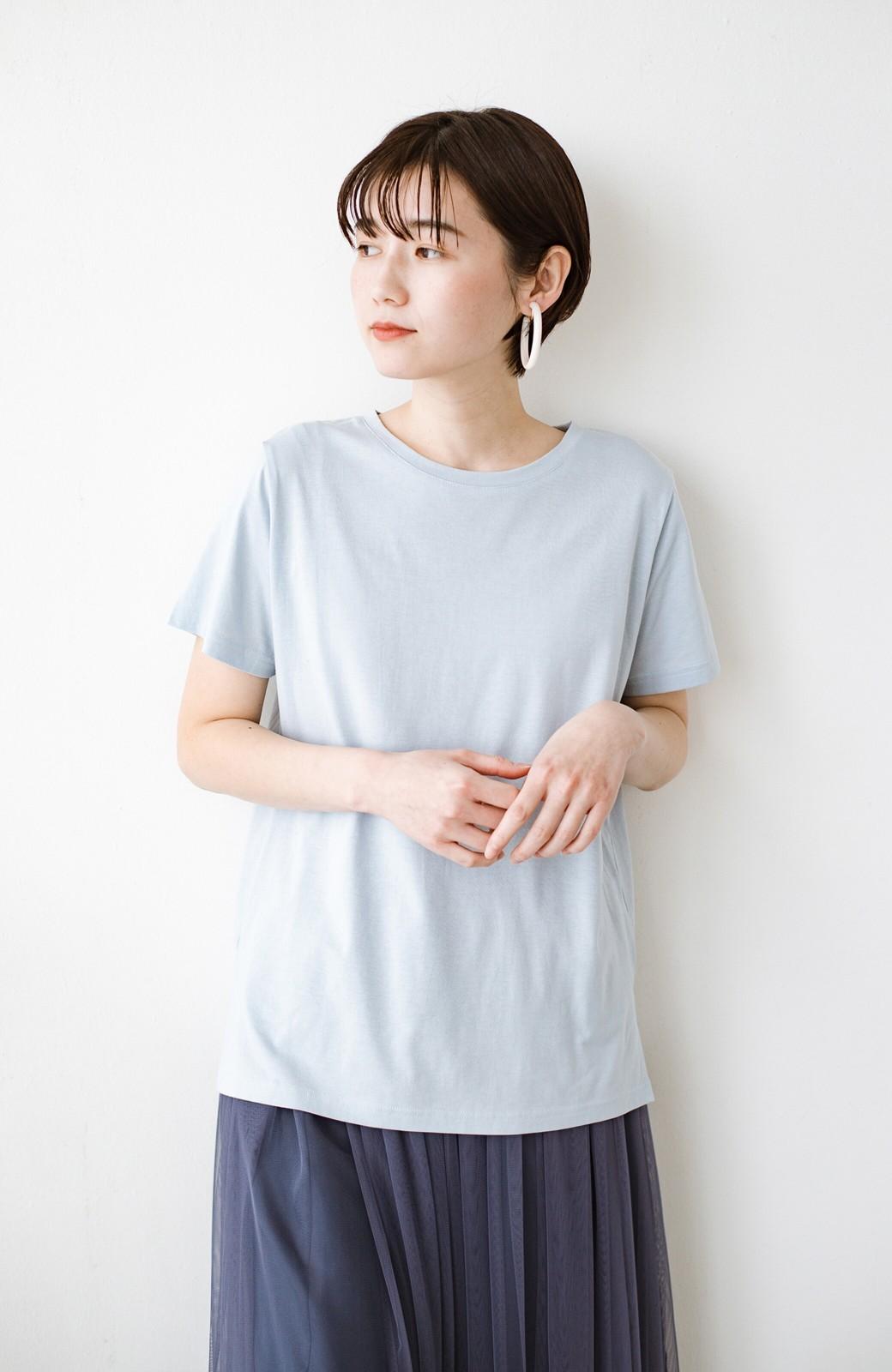 haco! 汗染み軽減加工で安心!1枚でも重ね着にも便利なシンプルTシャツ by ZAMPA <サックスブルー>の商品写真8