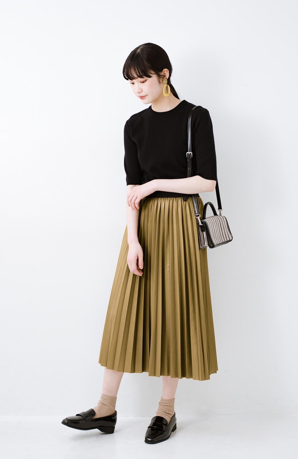 haco! コーデが一気に引き締まるフェイクレザー風プリーツスカート by laulea  <マスタード>の商品写真9