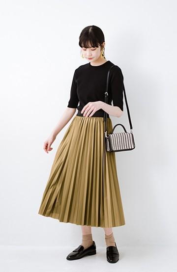 haco! コーデが一気に引き締まるフェイクレザー風プリーツスカート by laulea  <マスタード>の商品写真