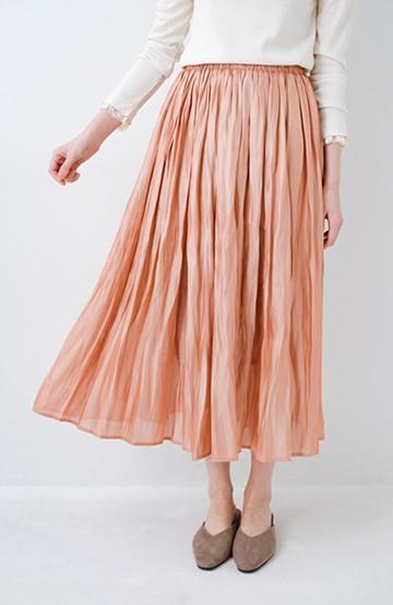 haco! 1枚でも重ね着にも便利なキラキラ素材がかわいいロングスカート by laulea <オレンジ>の商品写真