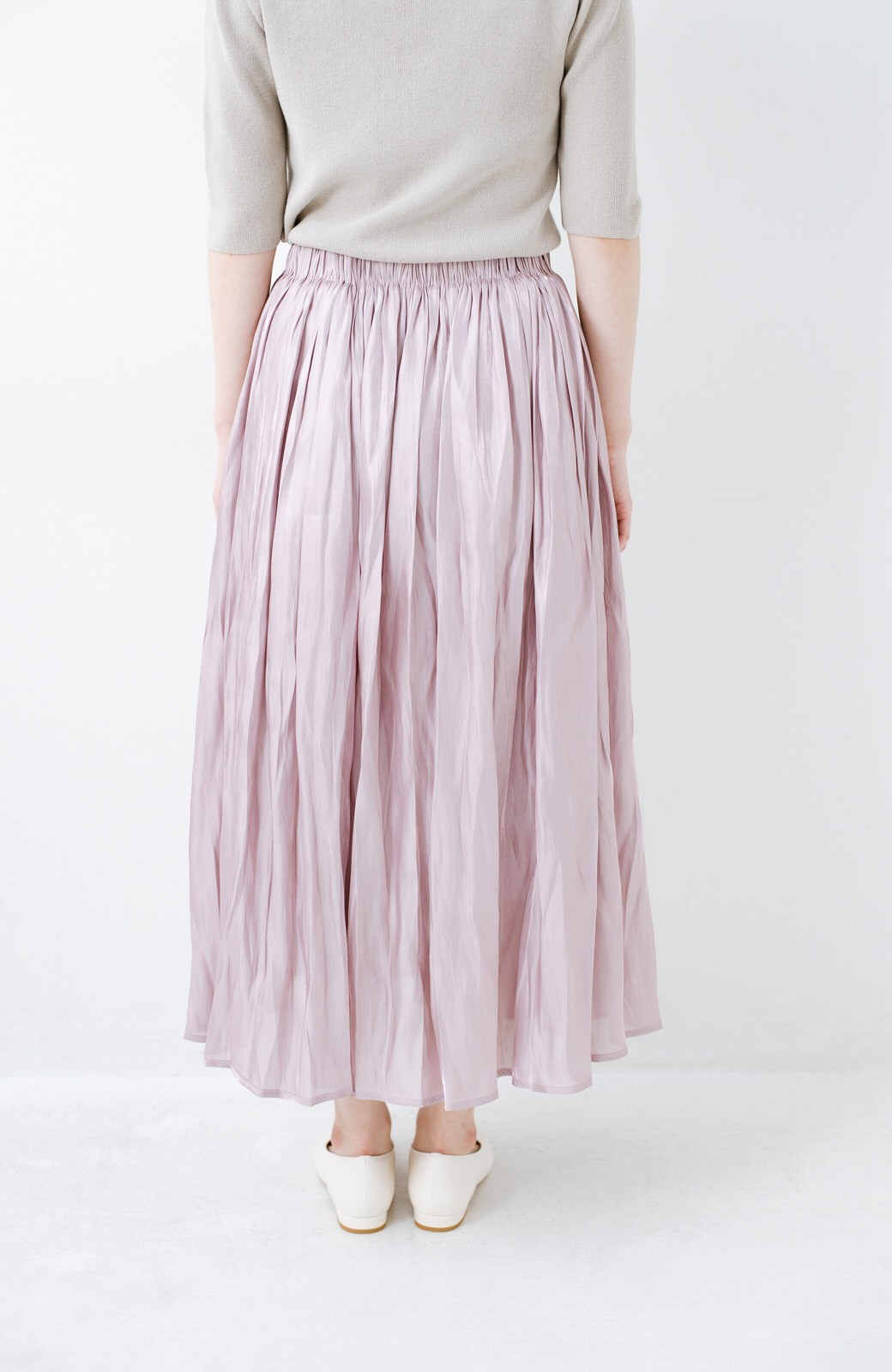 haco! 1枚でも重ね着にも便利なキラキラ素材がかわいいロングスカート by laulea <スモークピンク>の商品写真4