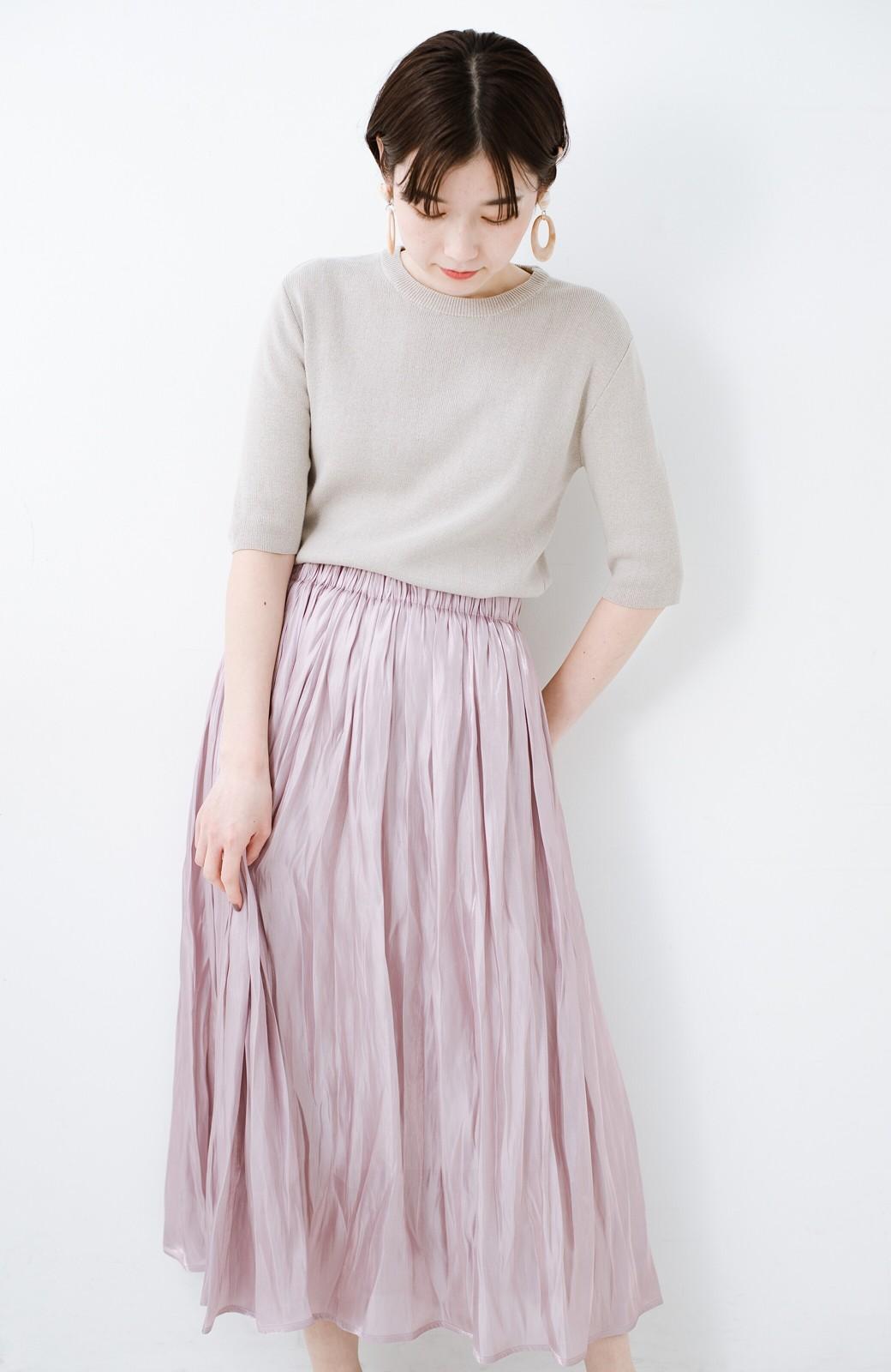 haco! 1枚でも重ね着にも便利なキラキラ素材がかわいいロングスカート by laulea <スモークピンク>の商品写真2