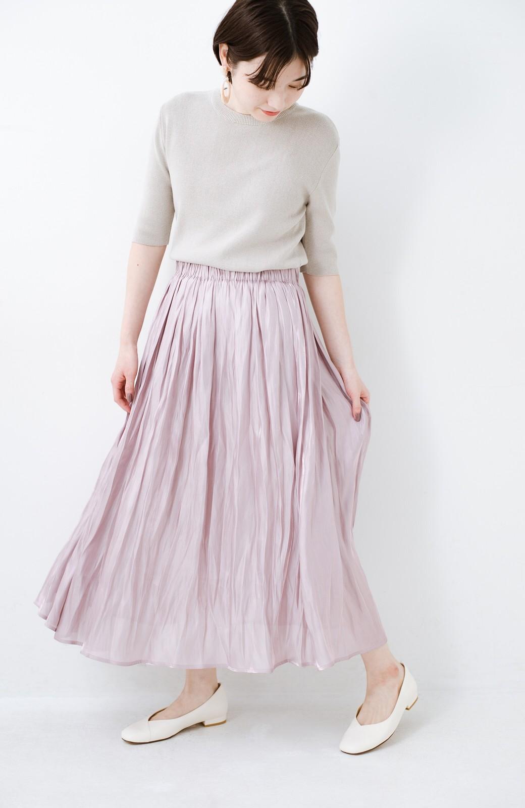 haco! 1枚でも重ね着にも便利なキラキラ素材がかわいいロングスカート by laulea <スモークピンク>の商品写真1