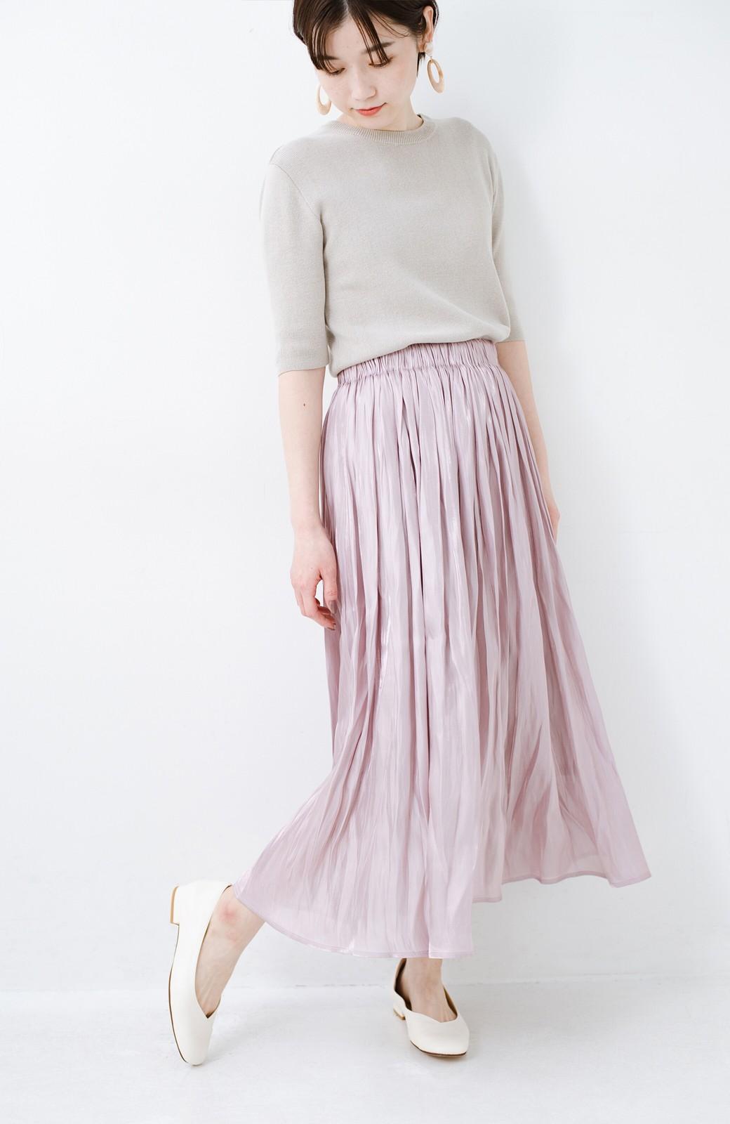 haco! 1枚でも重ね着にも便利なキラキラ素材がかわいいロングスカート by laulea <スモークピンク>の商品写真11