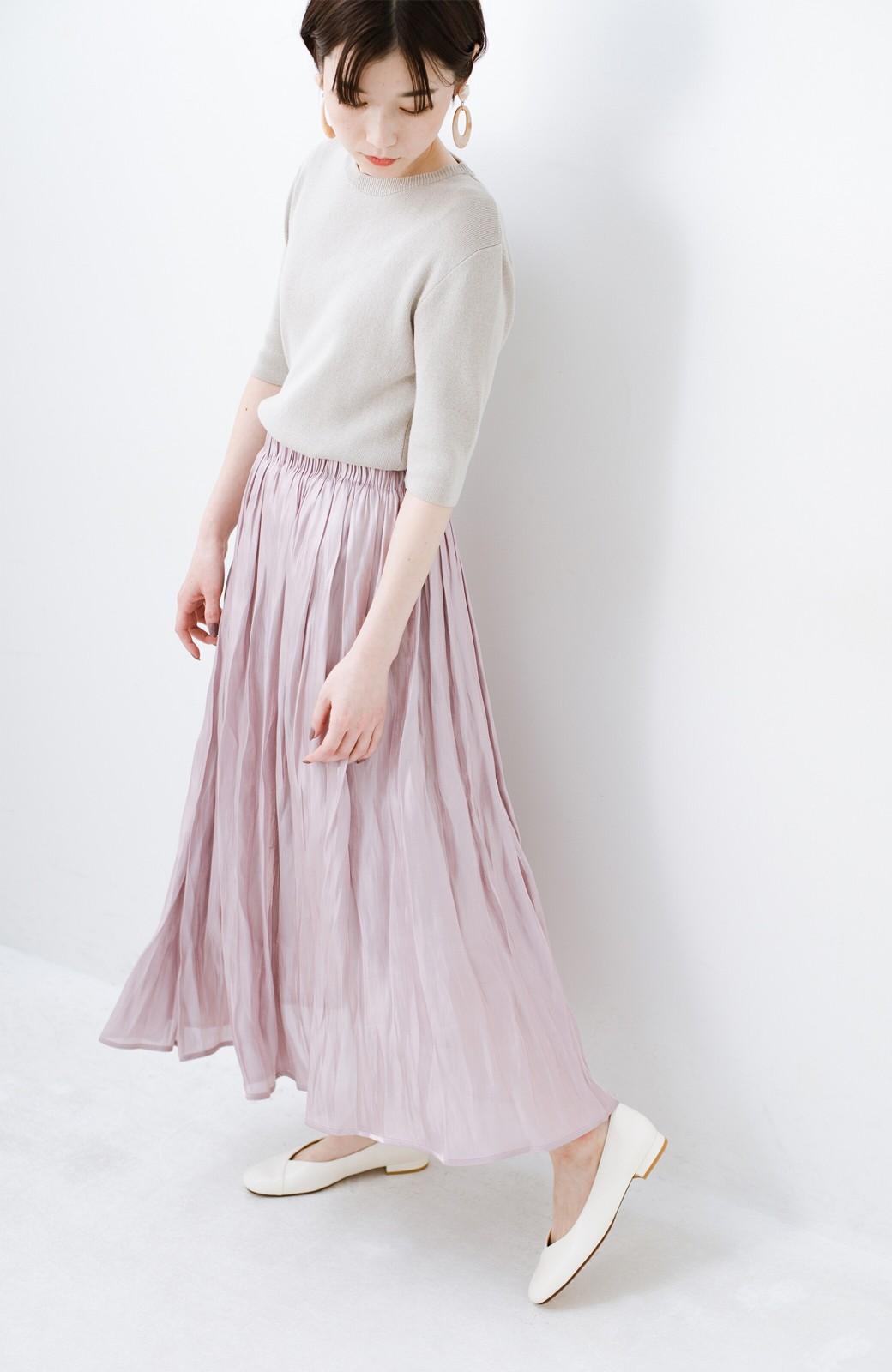 haco! 1枚でも重ね着にも便利なキラキラ素材がかわいいロングスカート by laulea <スモークピンク>の商品写真12