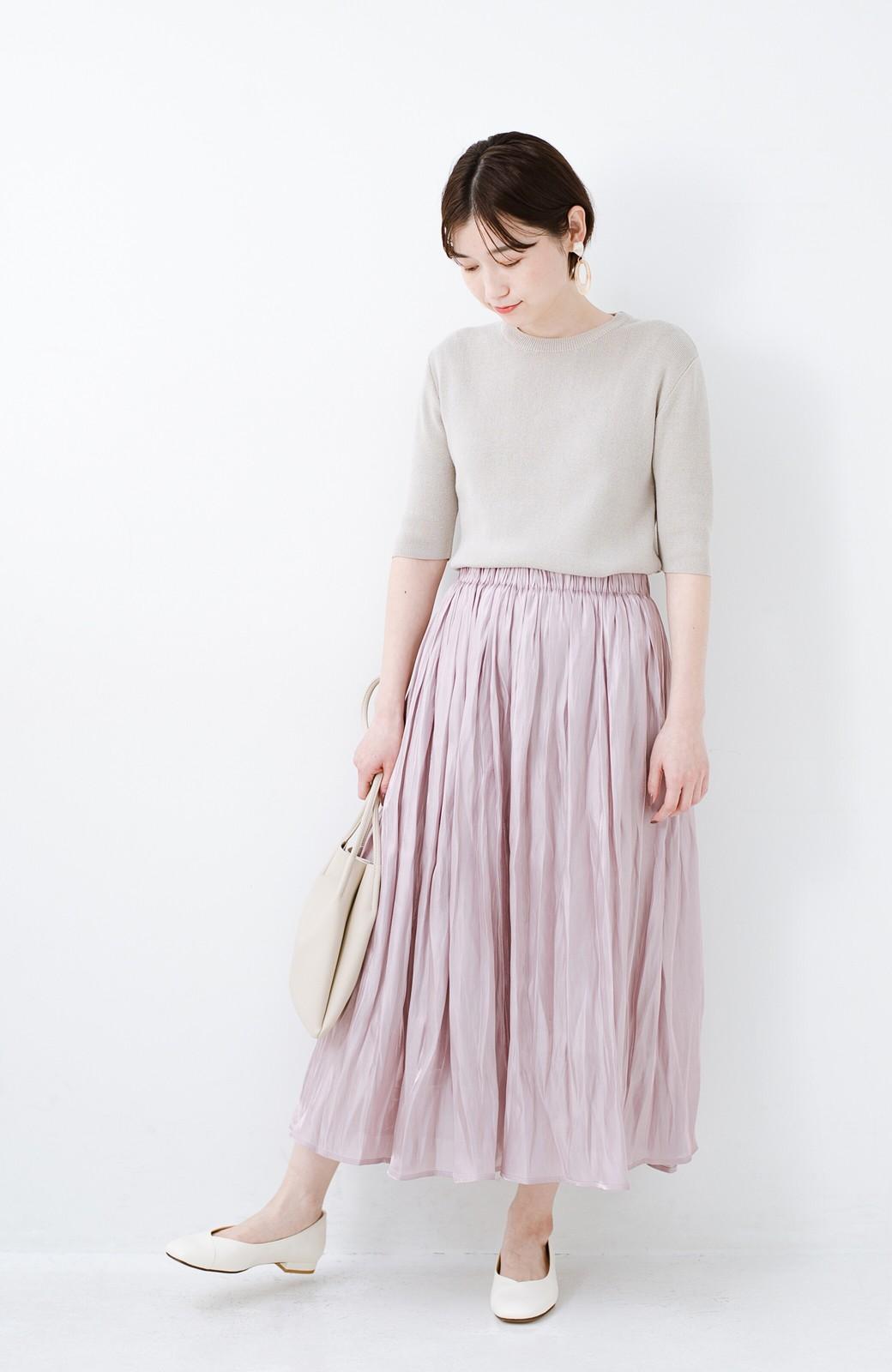 haco! 1枚でも重ね着にも便利なキラキラ素材がかわいいロングスカート by laulea <スモークピンク>の商品写真6