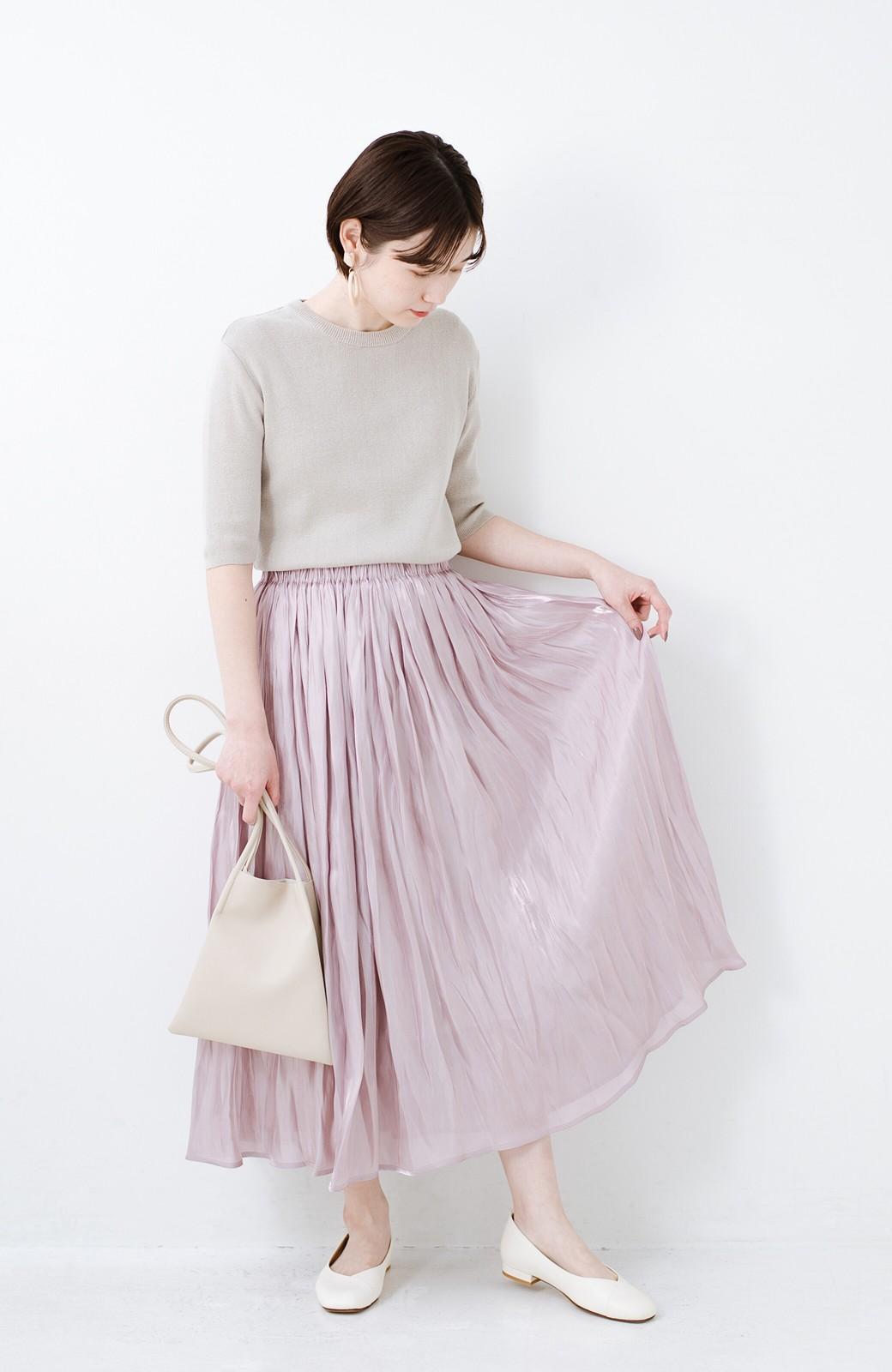 haco! 1枚でも重ね着にも便利なキラキラ素材がかわいいロングスカート by laulea <スモークピンク>の商品写真7
