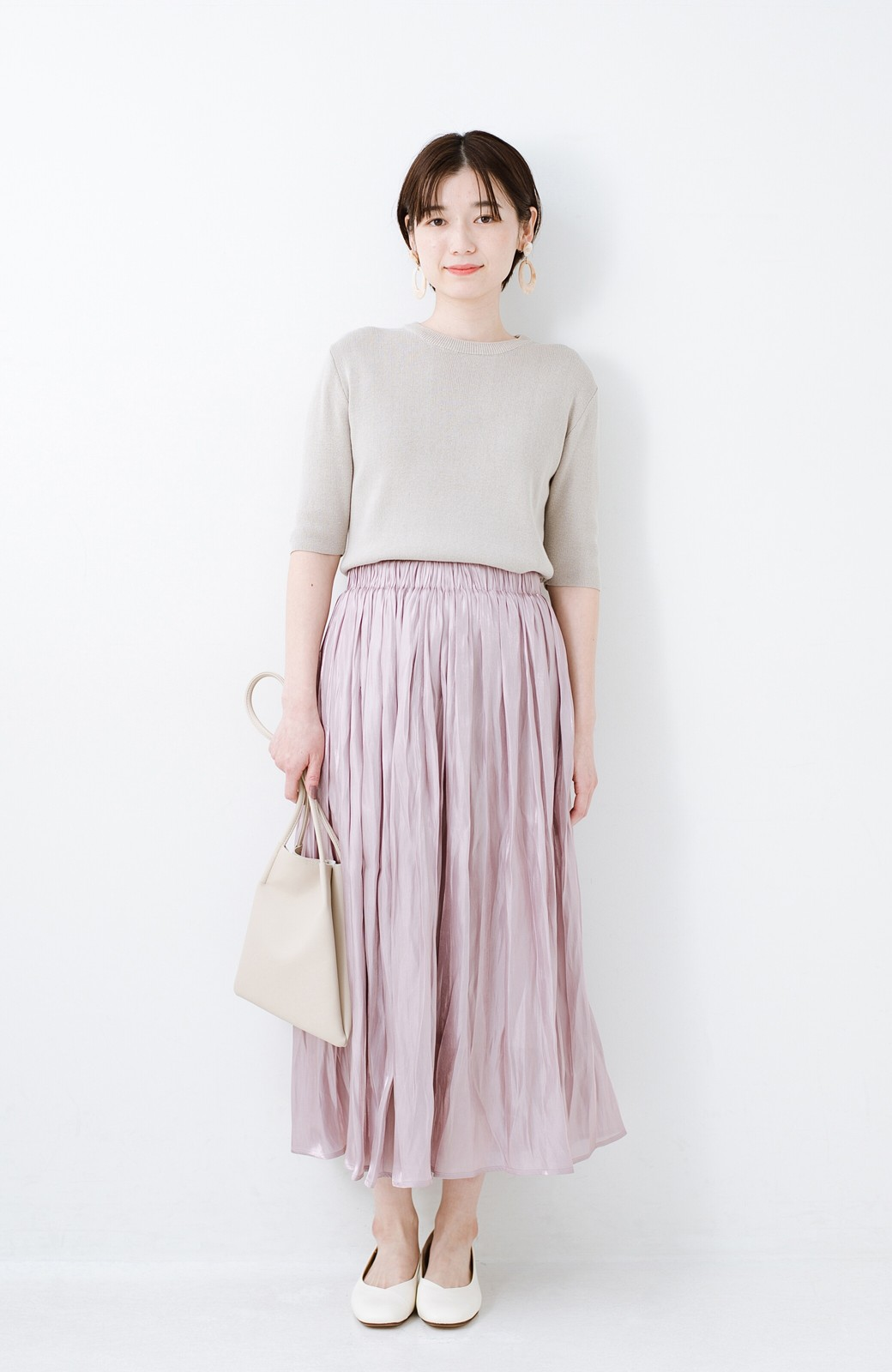 haco! 1枚でも重ね着にも便利なキラキラ素材がかわいいロングスカート by laulea <スモークピンク>の商品写真8