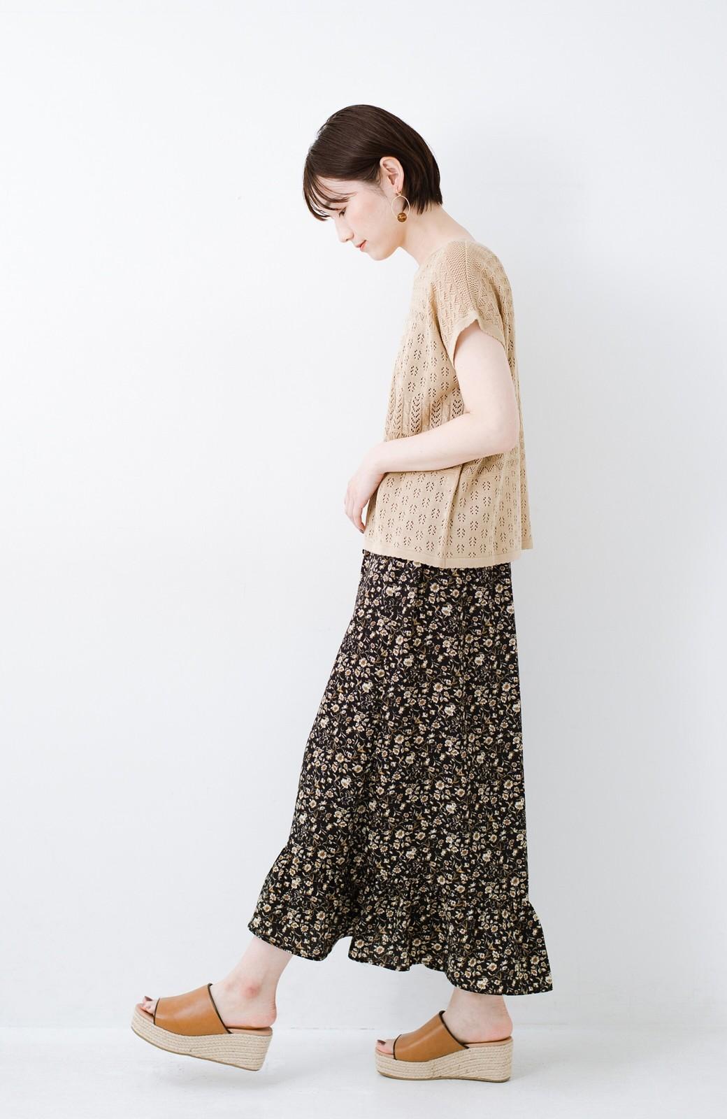 haco! 1枚でも重ね着にも便利なヘビロテしたくなる透かし編みニットトップス <ライトブラウン>の商品写真7