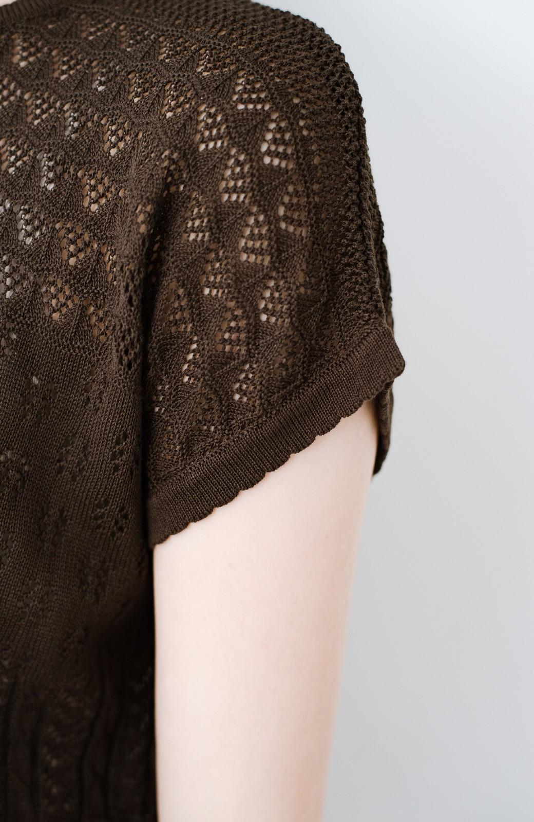 haco! 1枚でも重ね着にも便利なヘビロテしたくなる透かし編みニットトップス <チョコ>の商品写真6