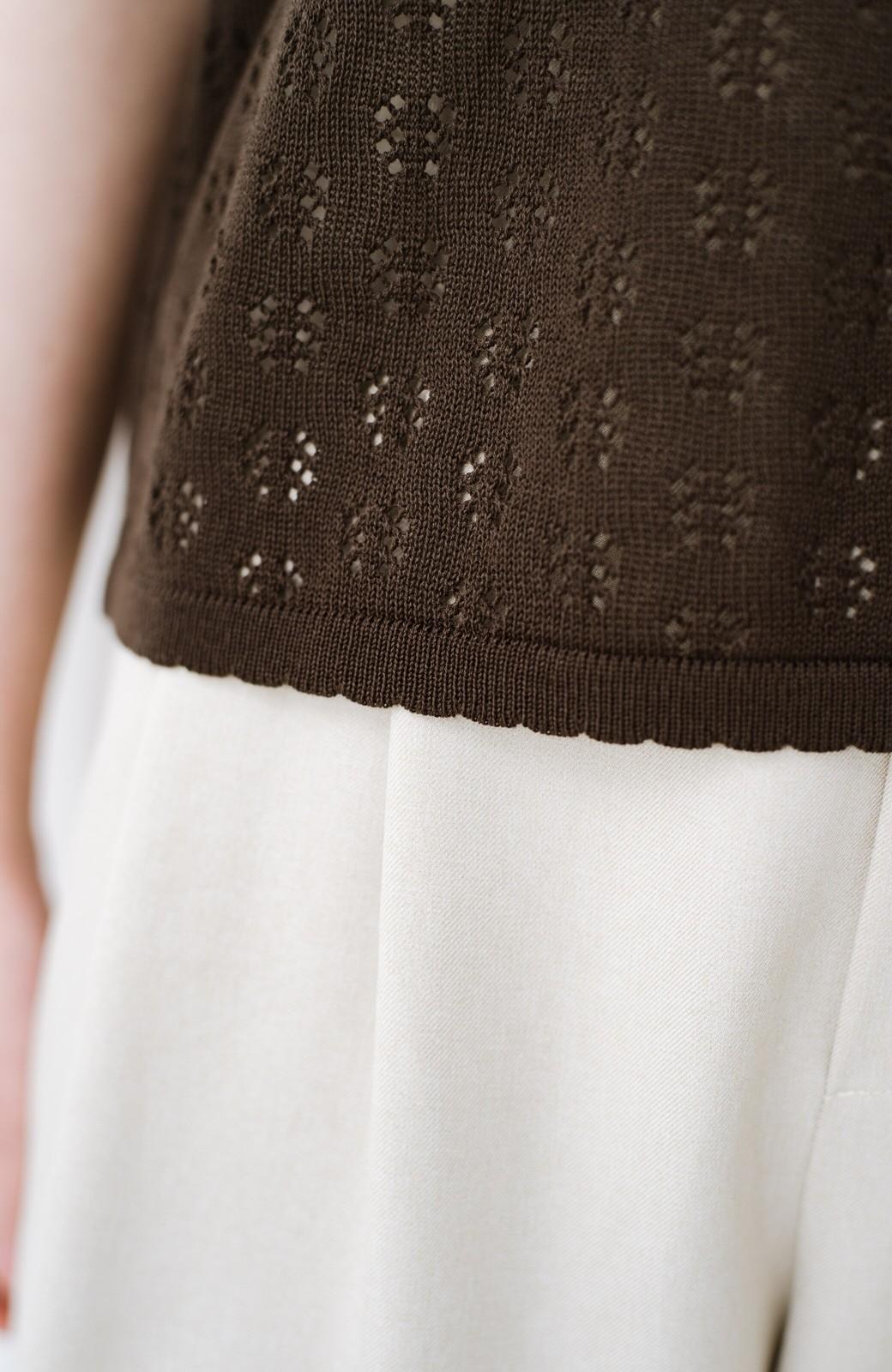 haco! 1枚でも重ね着にも便利なヘビロテしたくなる透かし編みニットトップス <チョコ>の商品写真7