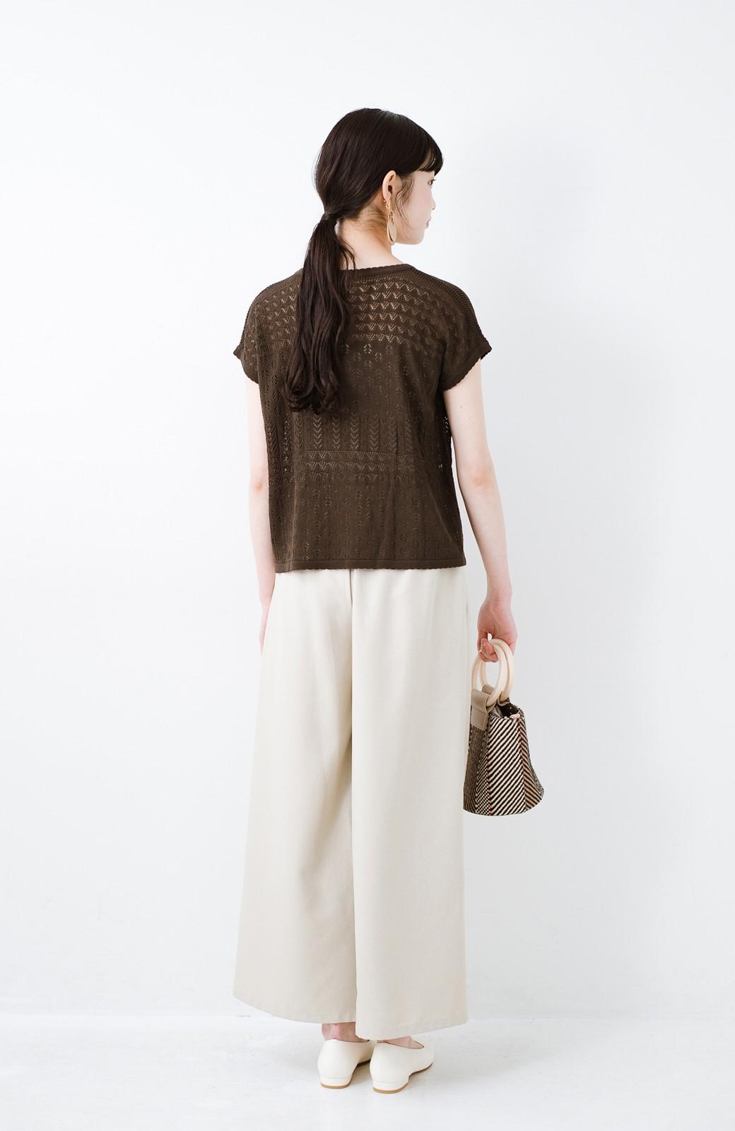 haco! 1枚でも重ね着にも便利なヘビロテしたくなる透かし編みニットトップス <チョコ>の商品写真10