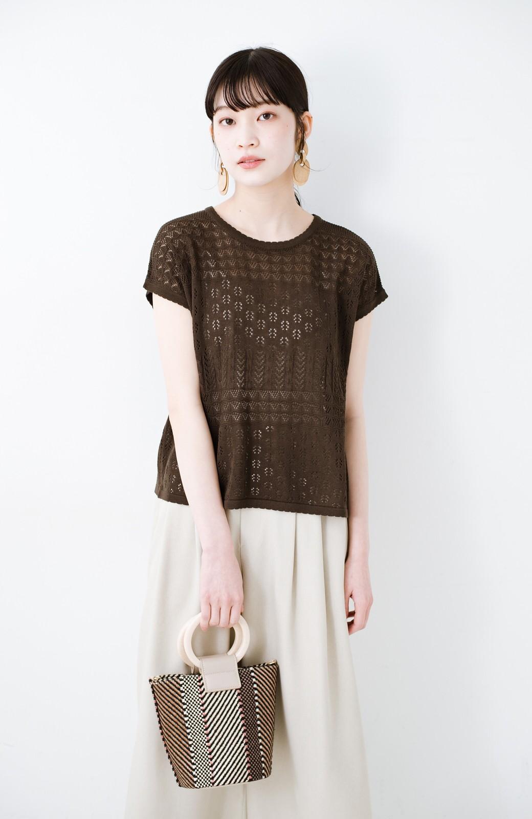 haco! 1枚でも重ね着にも便利なヘビロテしたくなる透かし編みニットトップス <チョコ>の商品写真3