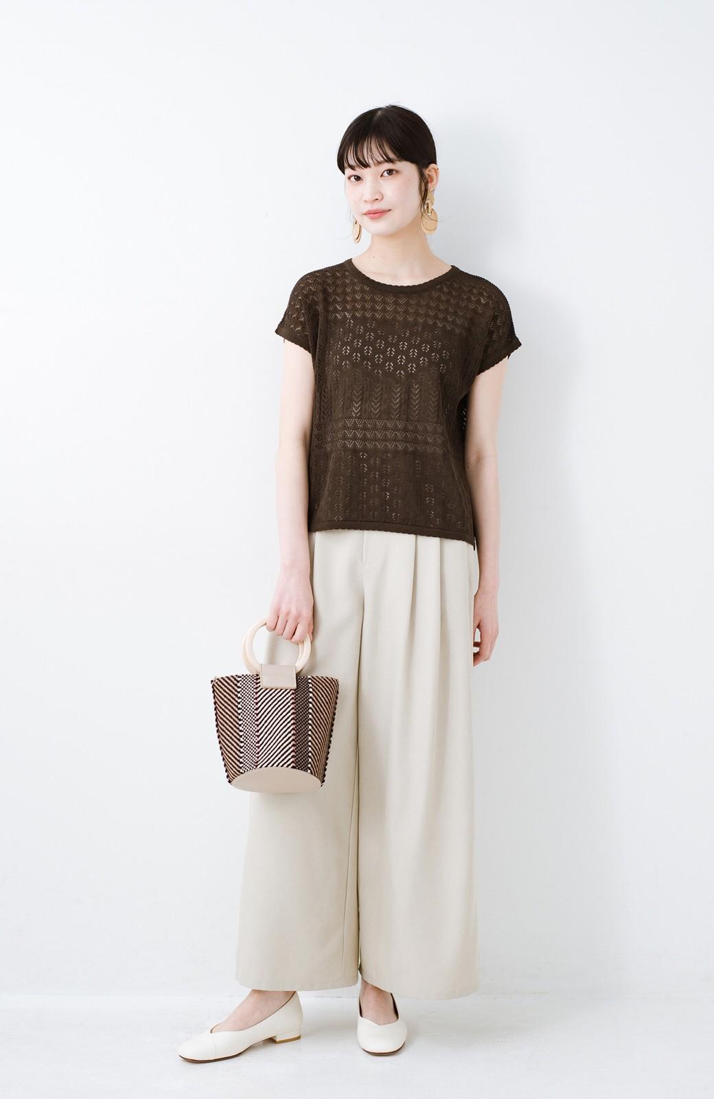 haco! 1枚でも重ね着にも便利なヘビロテしたくなる透かし編みニットトップス <チョコ>の商品写真8