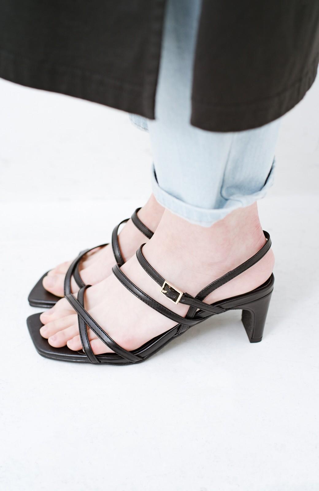 haco! 玄関でこれを履くだけでコーデが女っぽく&今っぽくまとまる 華奢な紐のヒールサンダル <ブラック>の商品写真9