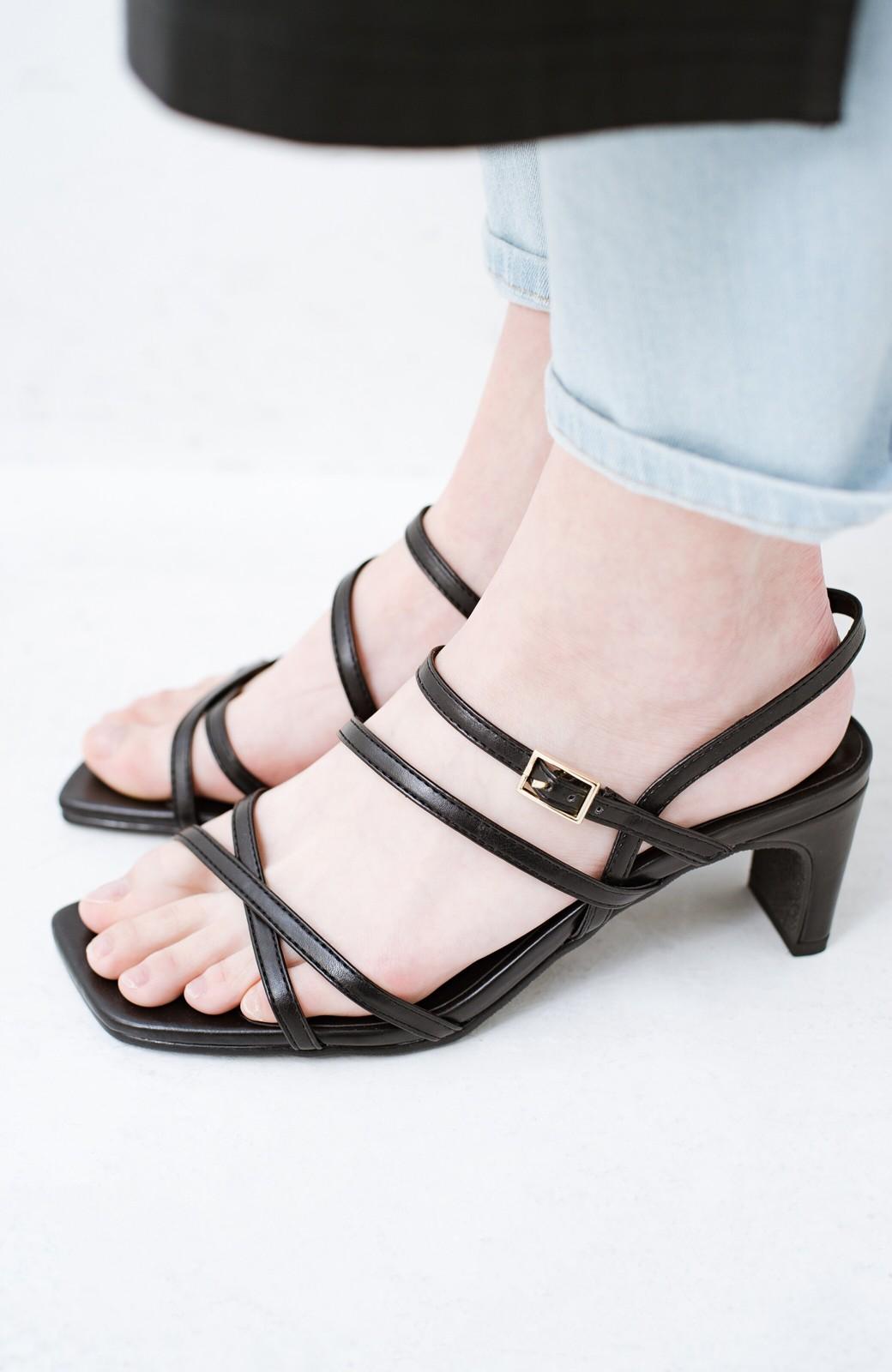 haco! 玄関でこれを履くだけでコーデが女っぽく&今っぽくまとまる 華奢な紐のヒールサンダル <ブラック>の商品写真4