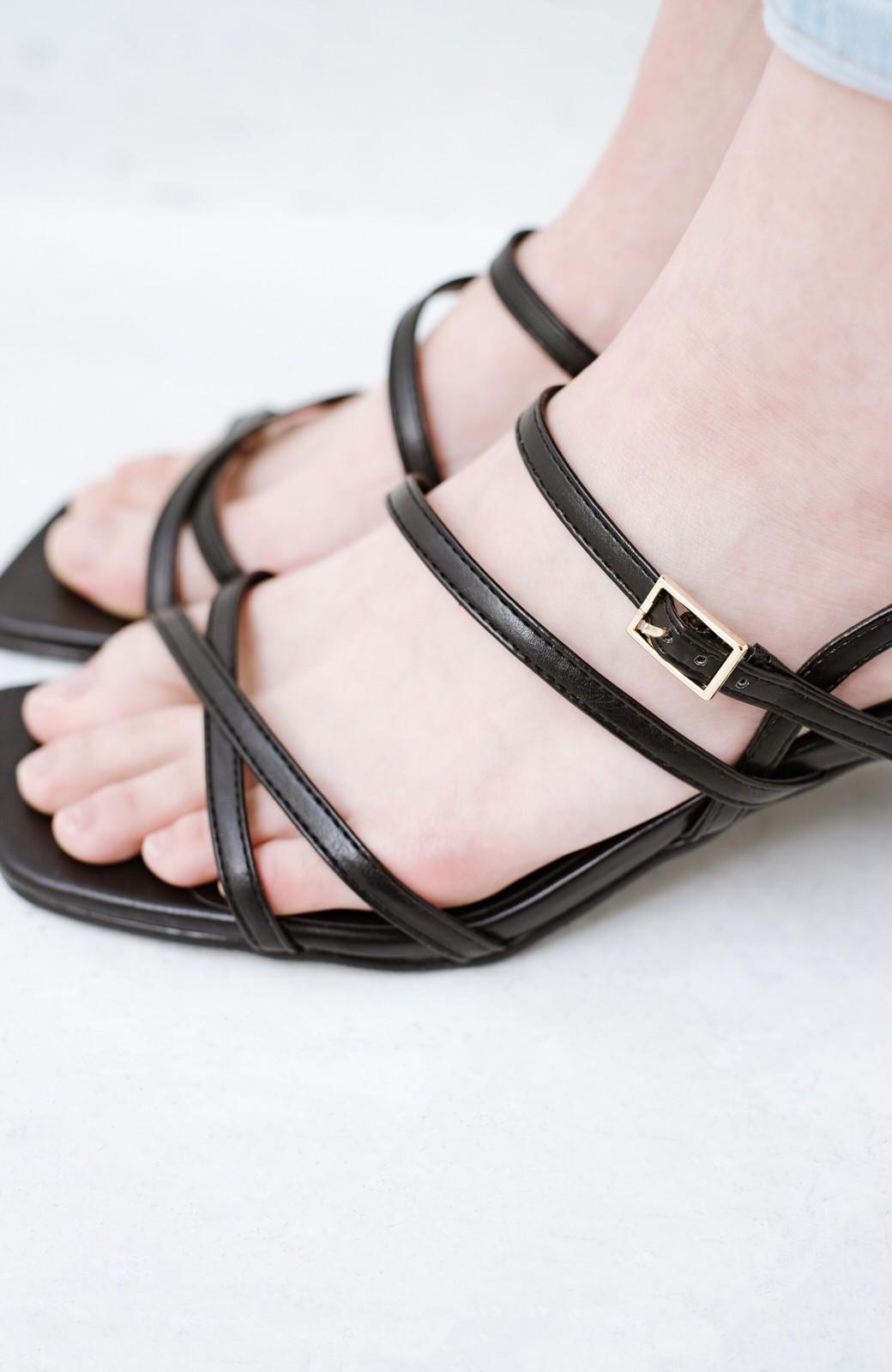 haco! 玄関でこれを履くだけでコーデが女っぽく&今っぽくまとまる 華奢な紐のヒールサンダル <ブラック>の商品写真10