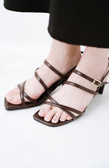 haco! 玄関でこれを履くだけでコーデが女っぽく&今っぽくまとまる 華奢な紐のヒールサンダル <ブラウン>の商品写真
