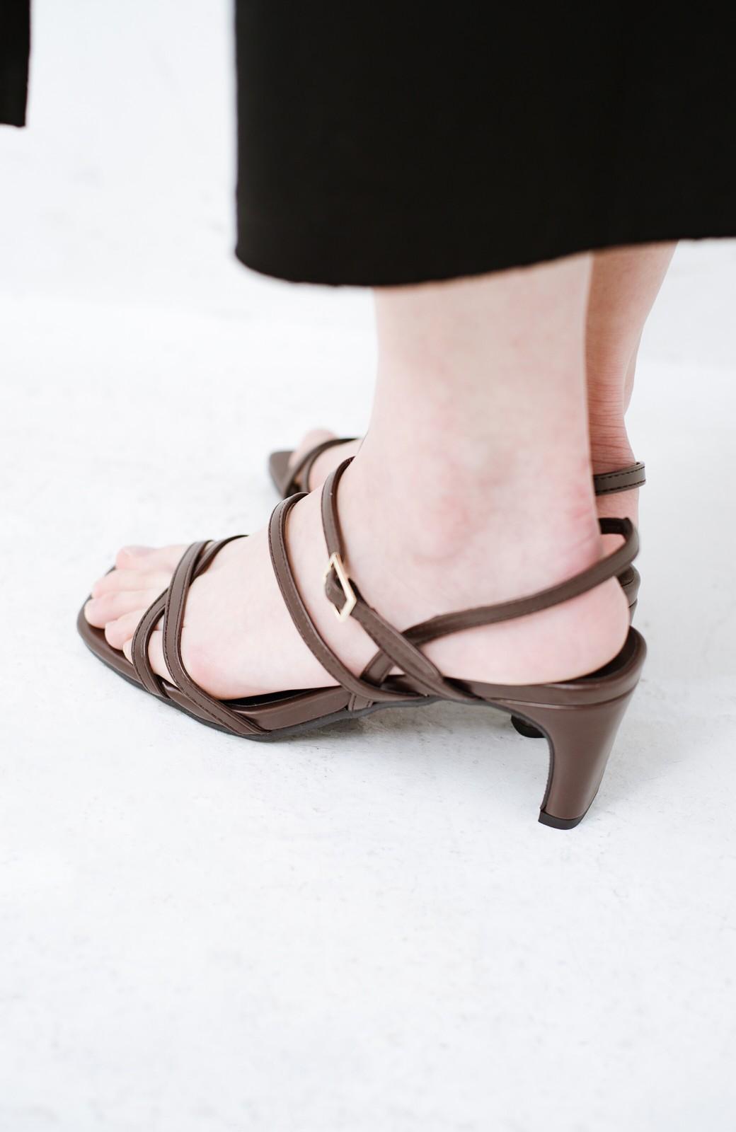 haco! 玄関でこれを履くだけでコーデが女っぽく&今っぽくまとまる 華奢な紐のヒールサンダル <ブラウン>の商品写真10